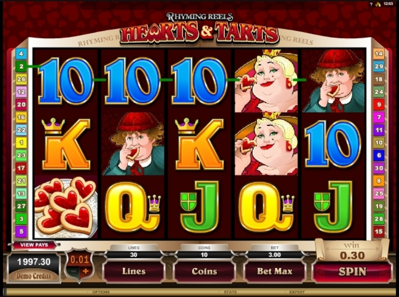 Win Money in Hearts & Tarts Free Slot Game by Microgaming