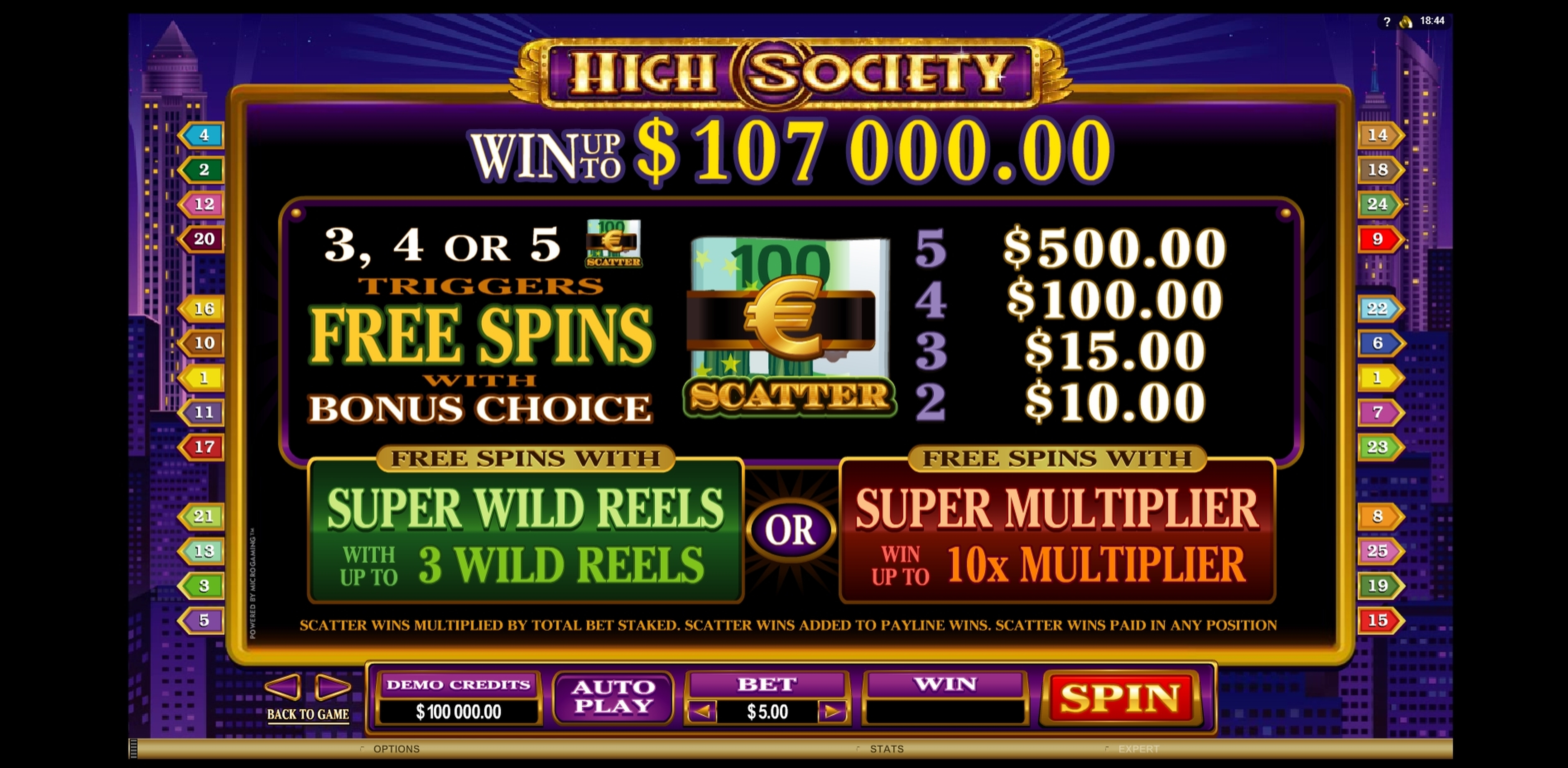 Info of High Society Slot Game by Microgaming