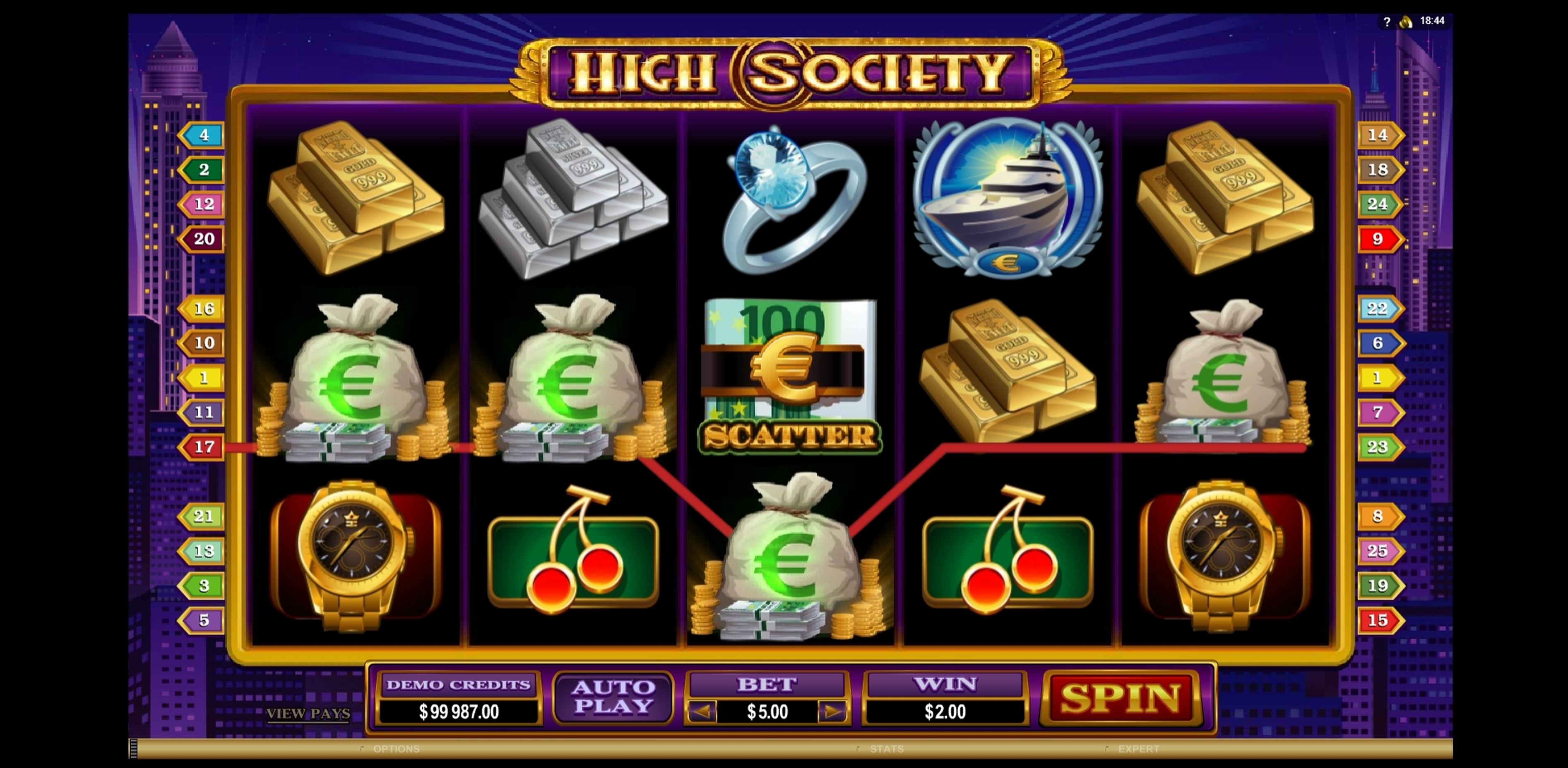 Win Money in High Society Free Slot Game by Microgaming