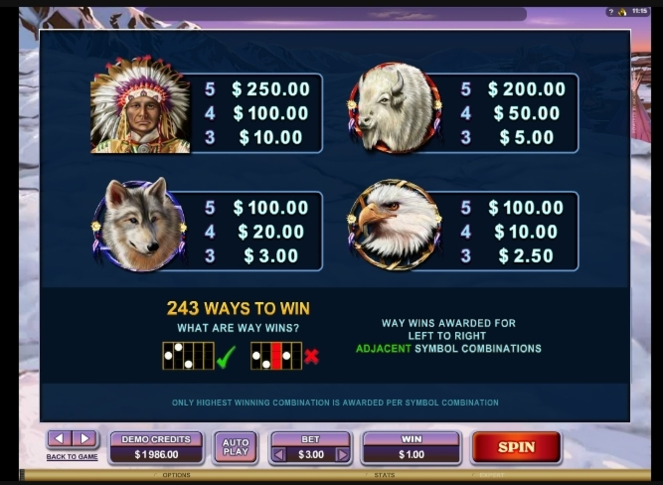 Info of Mystic Dreams Slot Game by Microgaming
