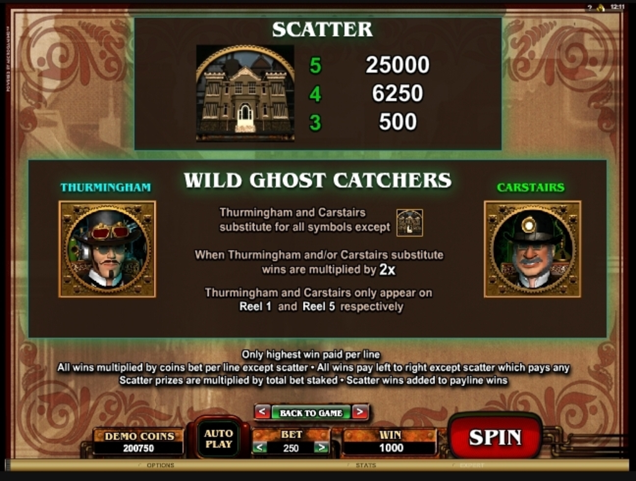 Info of Phantom Cash Slot Game by Microgaming