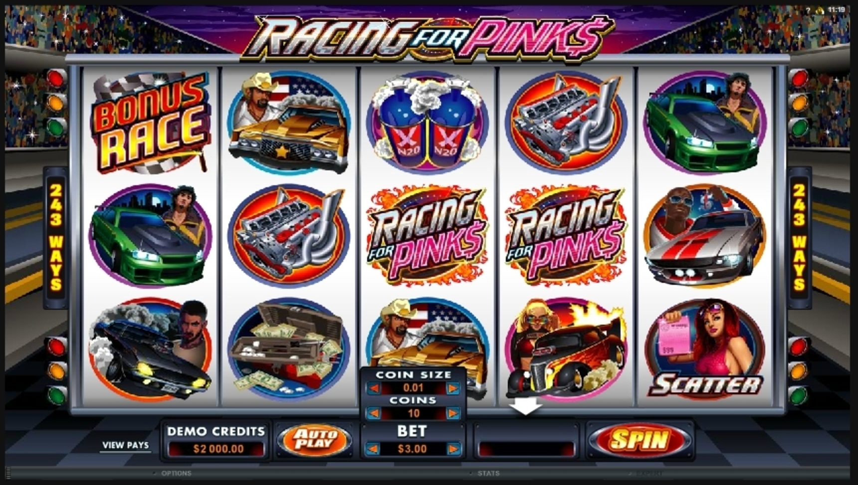 Reels in Racing For Pinks Slot Game by Microgaming