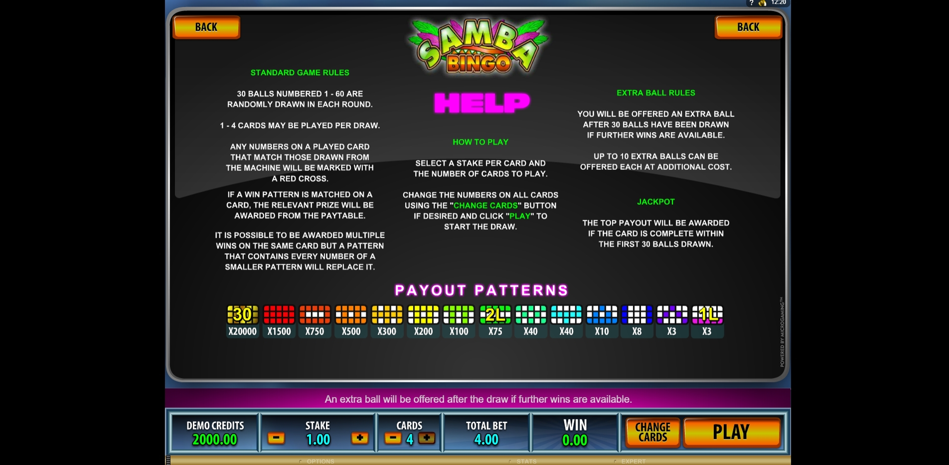 Info of Samba Bingo Slot Game by Microgaming