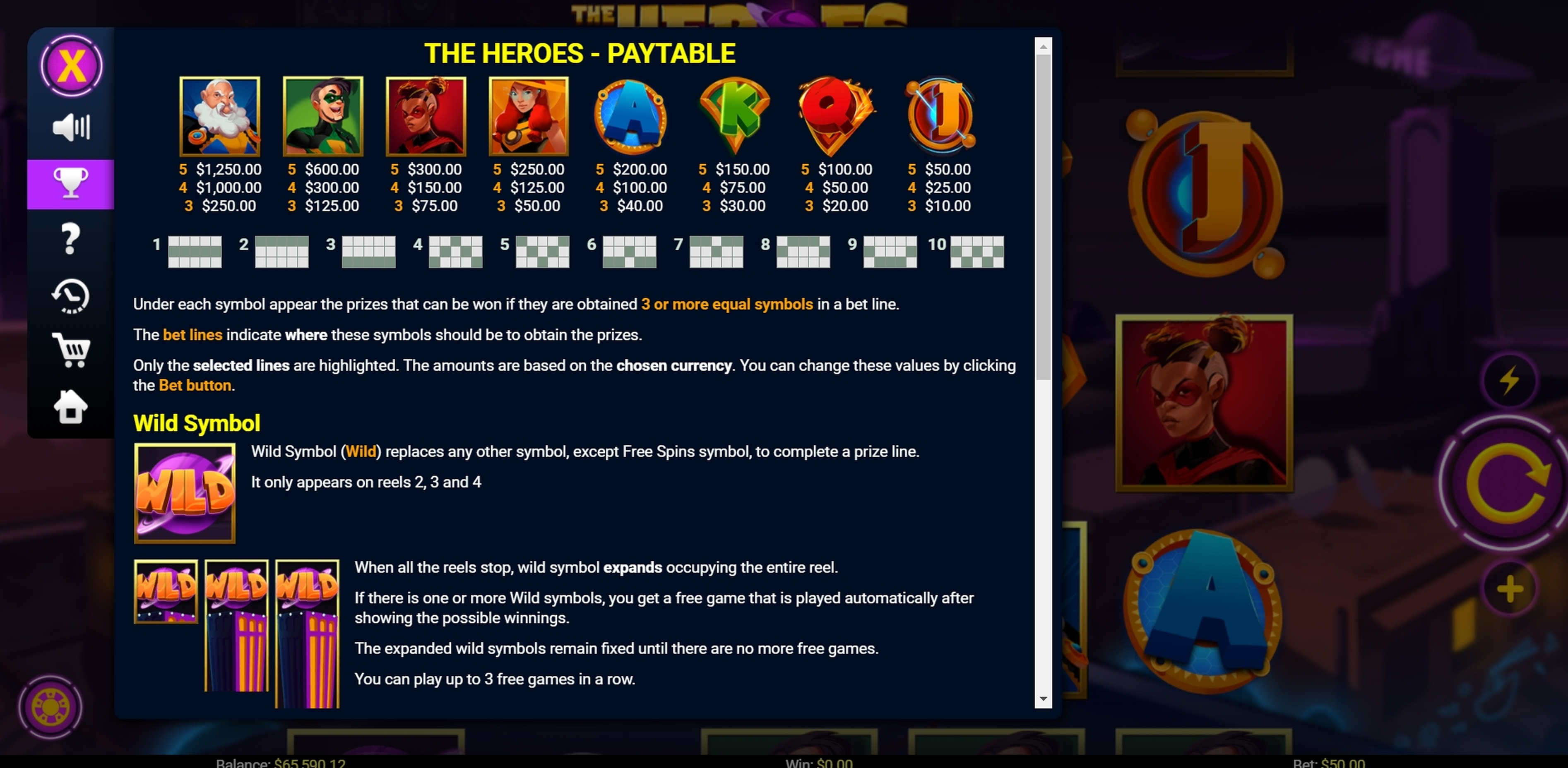 Info of The Heroes Slot Game by Mobilots