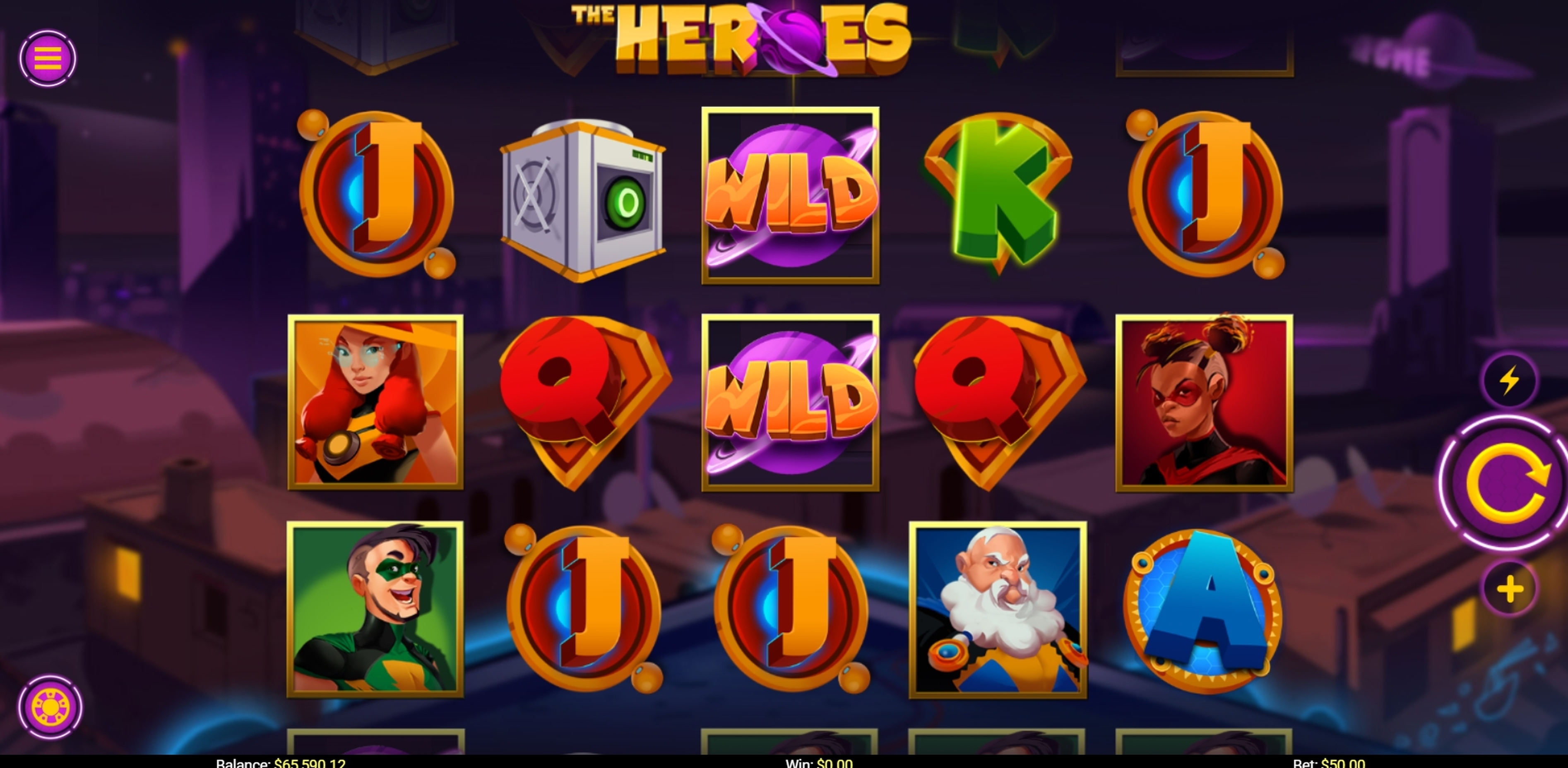 Reels in The Heroes Slot Game by Mobilots