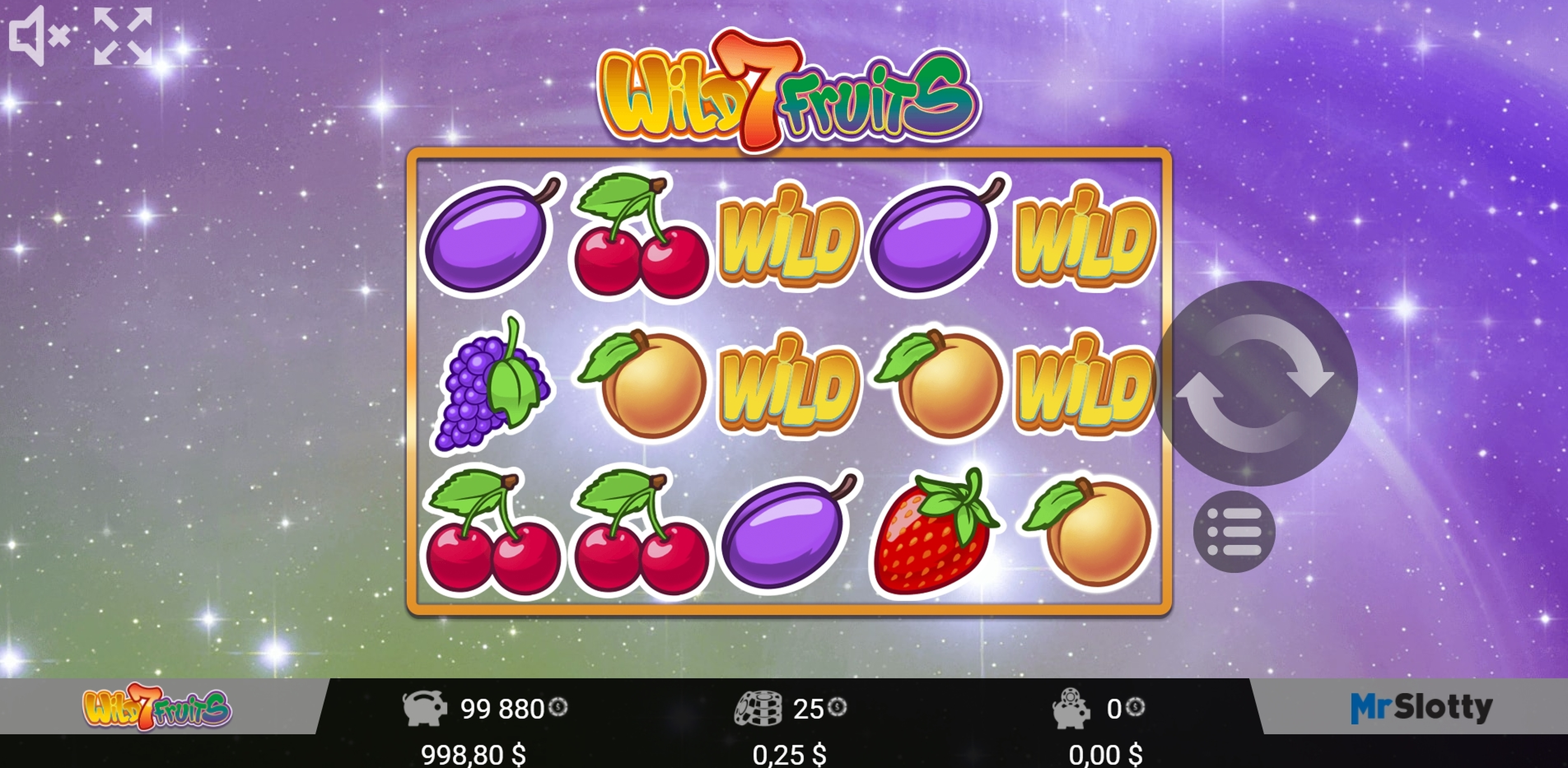 Reels in Wild7Fruits Slot Game by Mr Slotty