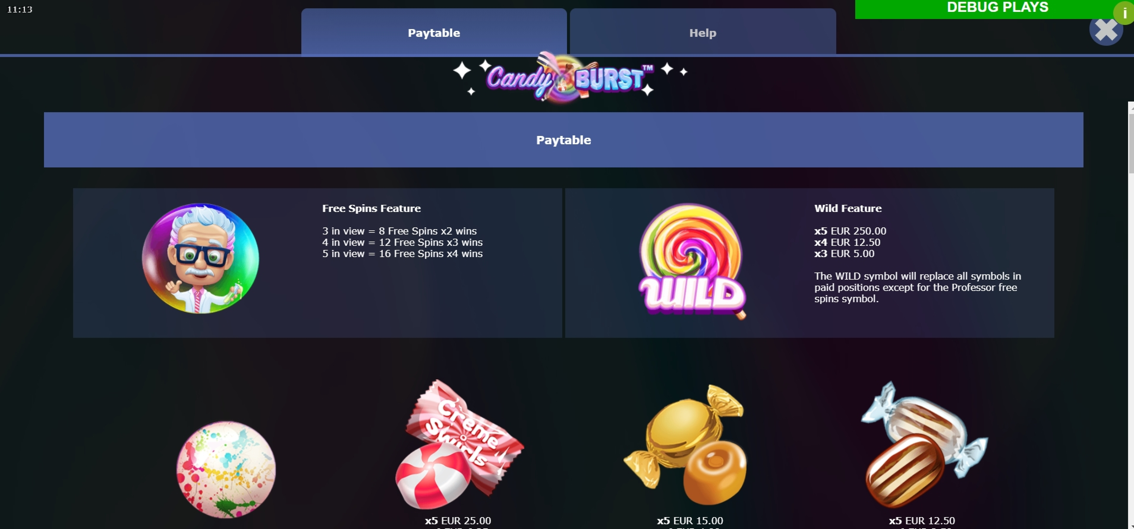 Info of Candy Burst (Mutuel Play) Slot Game by Mutuel Play