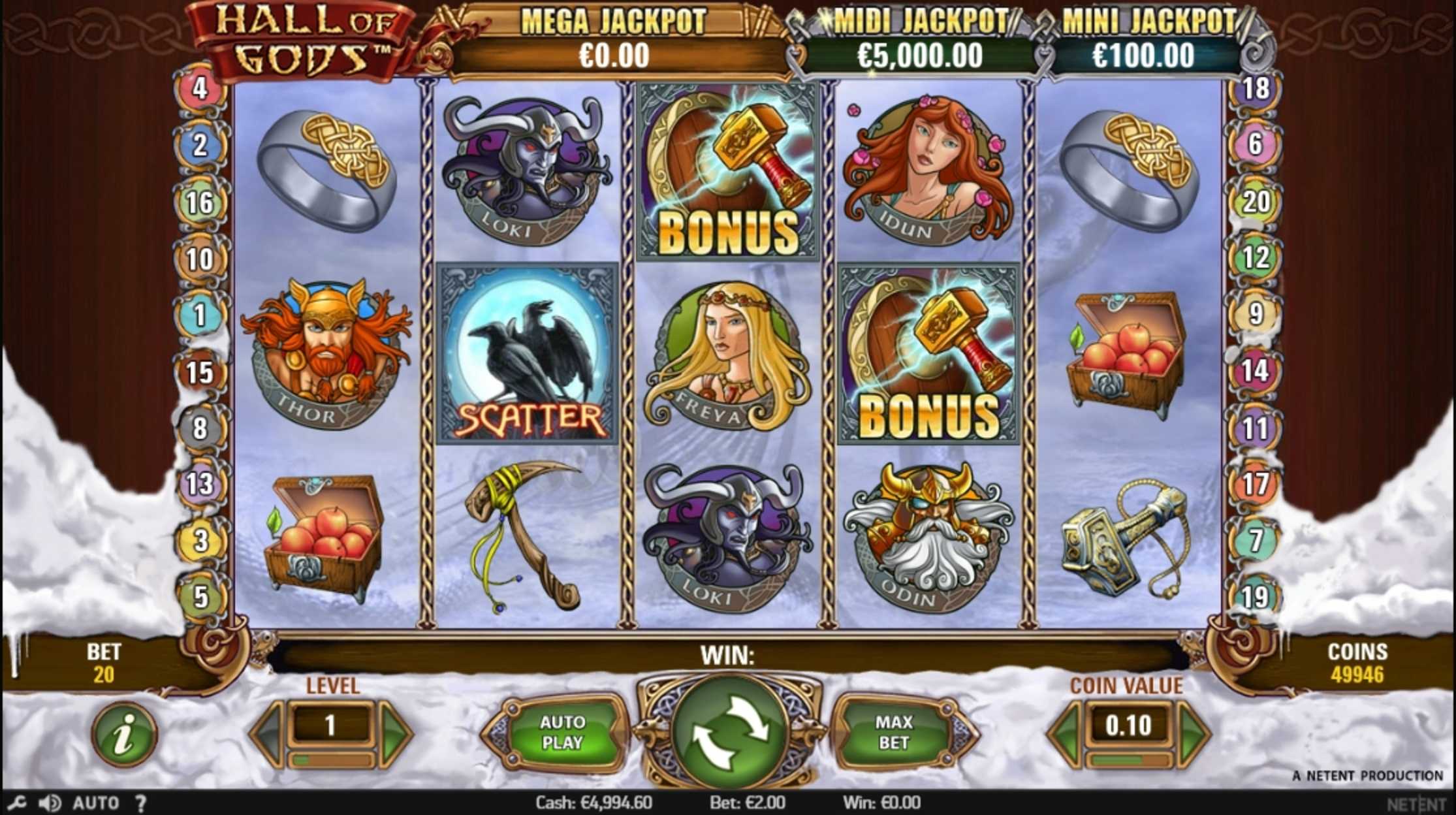 Reels in Hall of Gods Slot Game by NetEnt