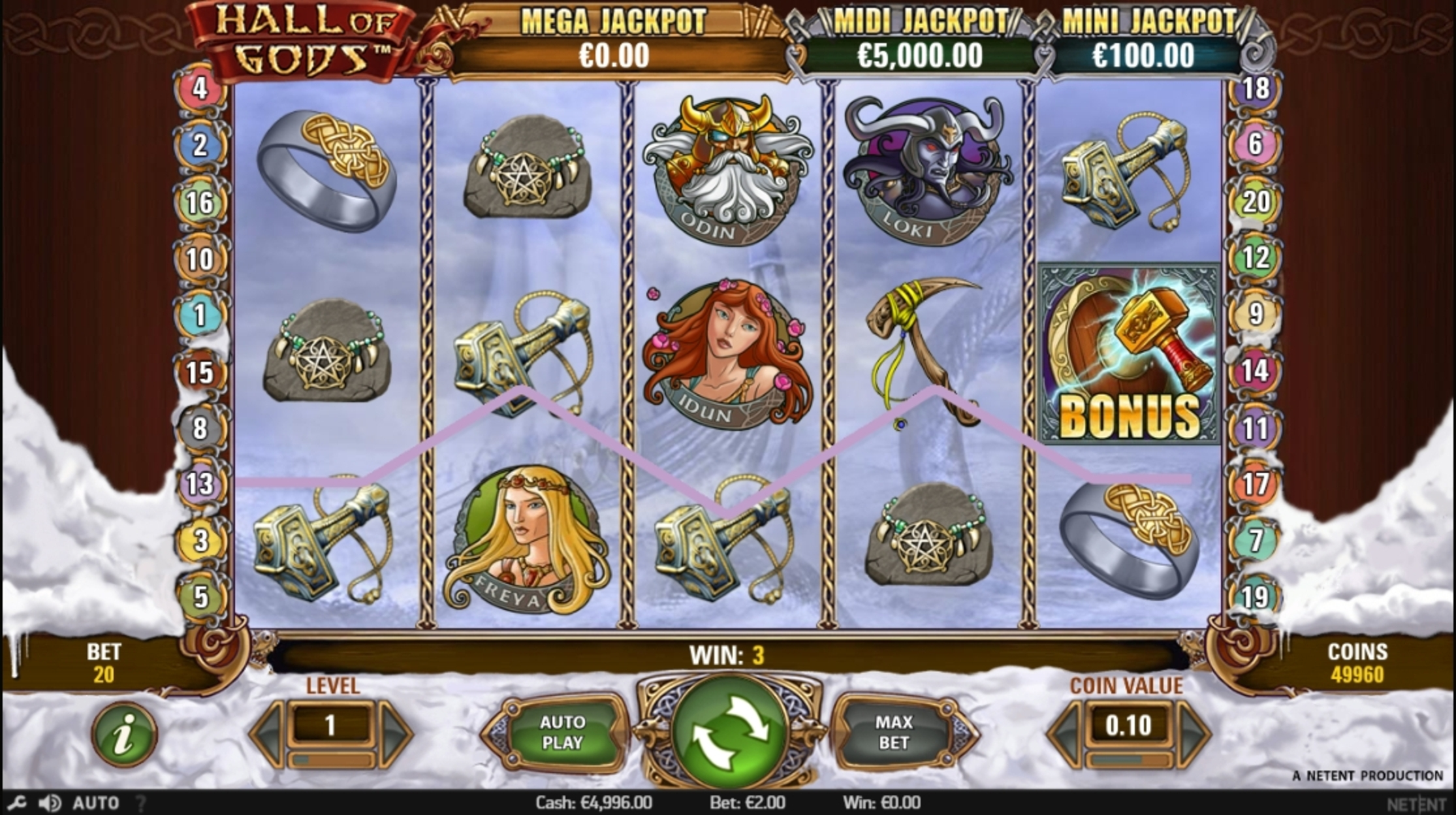 Win Money in Hall of Gods Free Slot Game by NetEnt