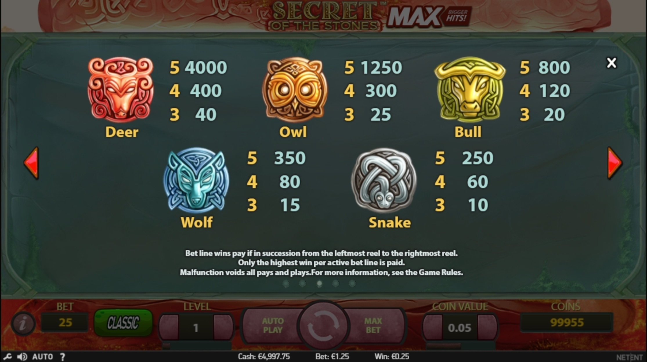 Info of Secret of the Stones Slot Game by NetEnt