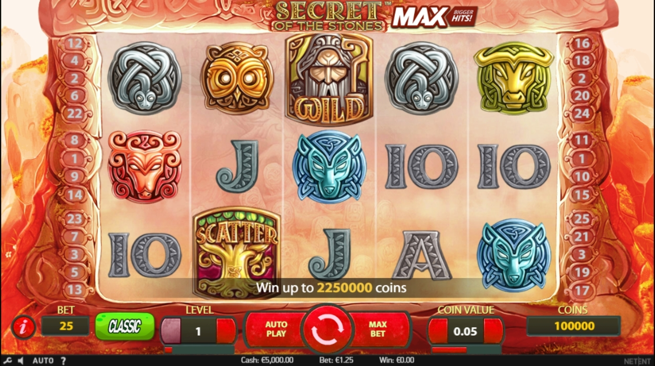 Reels in Secret of the Stones Slot Game by NetEnt