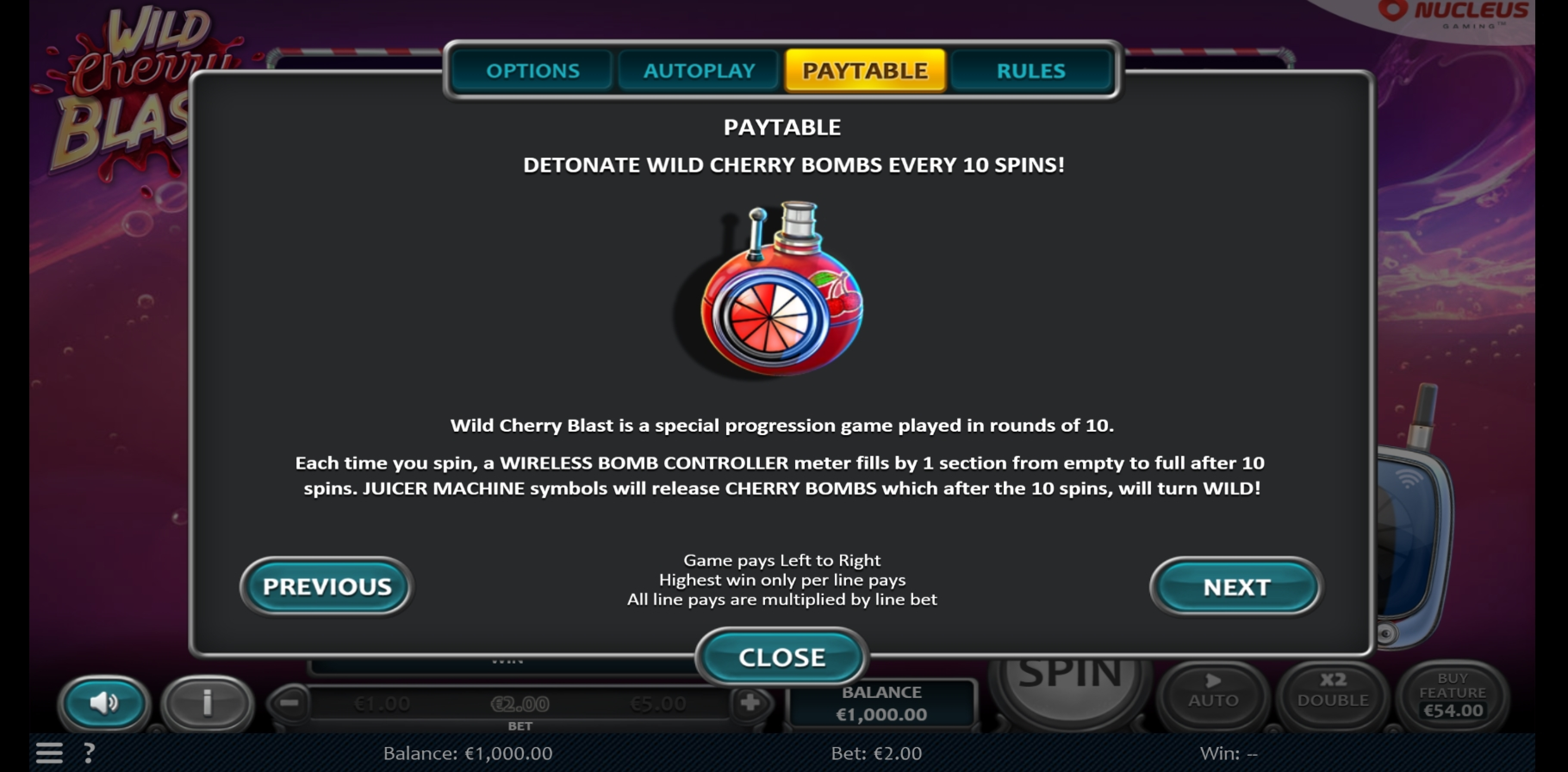Info of Wild Cherry Blast Slot Game by Nucleus Gaming