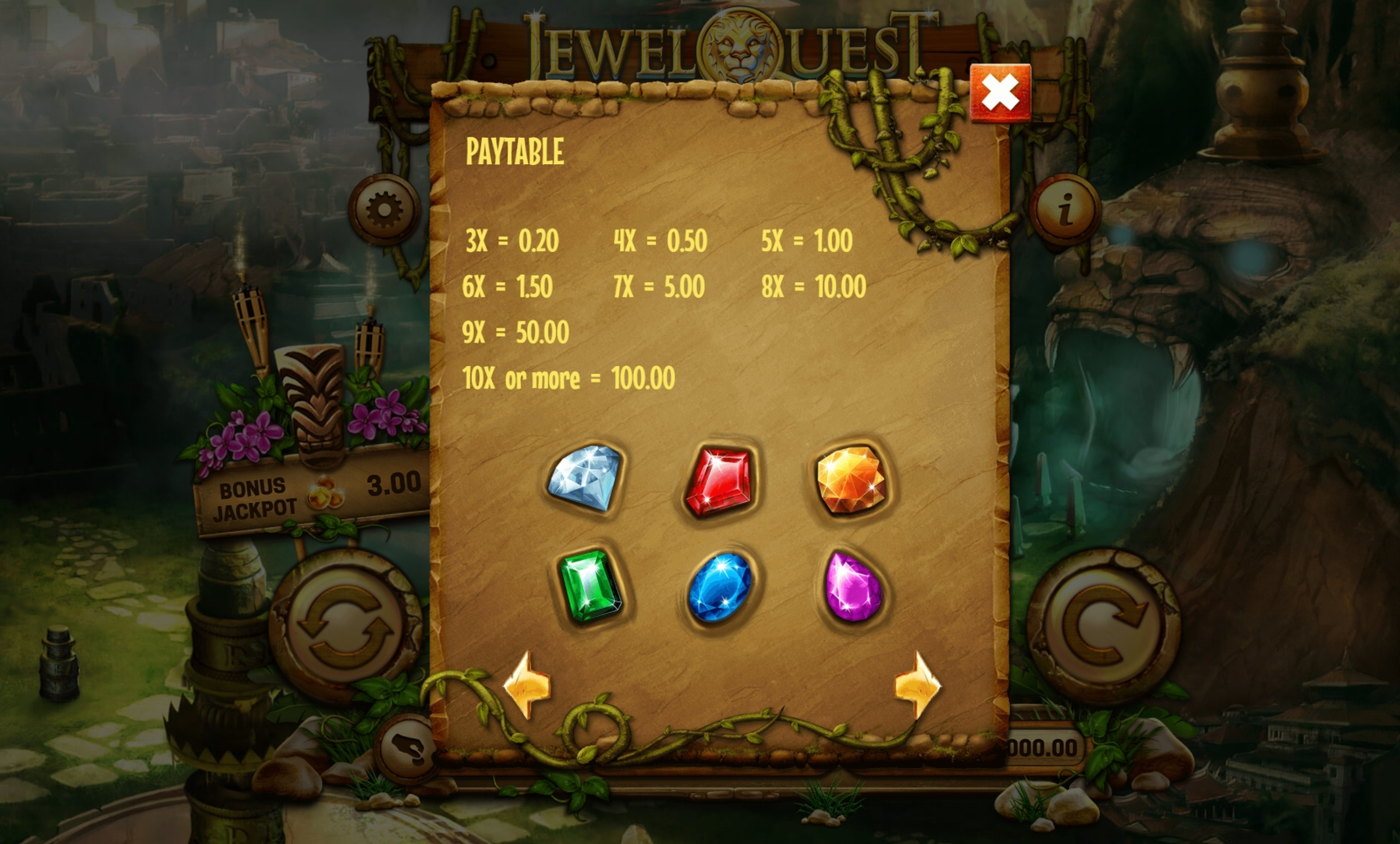Info of Jewel Quest Riches Slot Game by Old Skool Studios