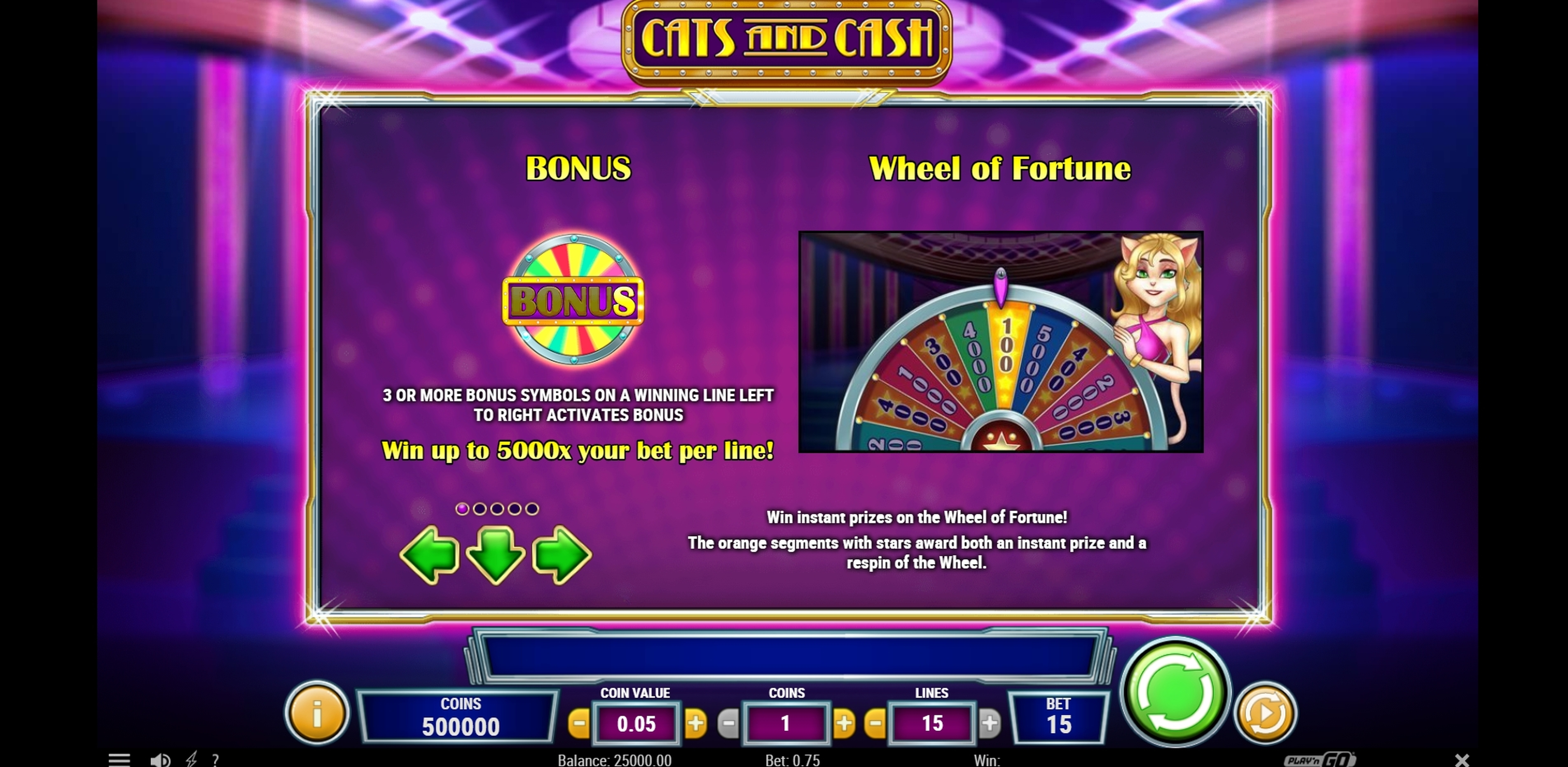 Info of Cats and Cash Slot Game by Playn GO