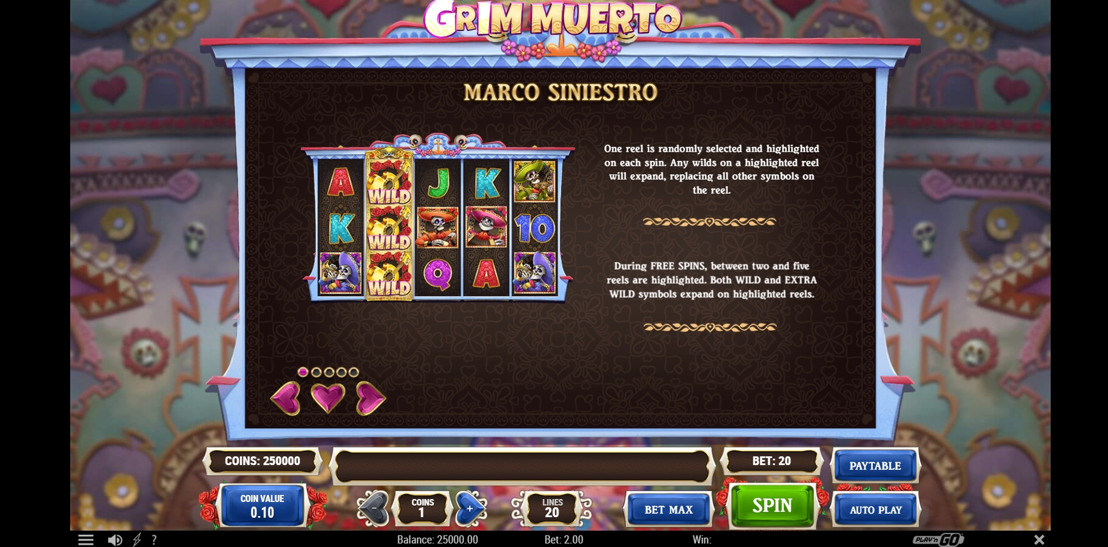 Info of Grim Muerto Slot Game by Playn GO