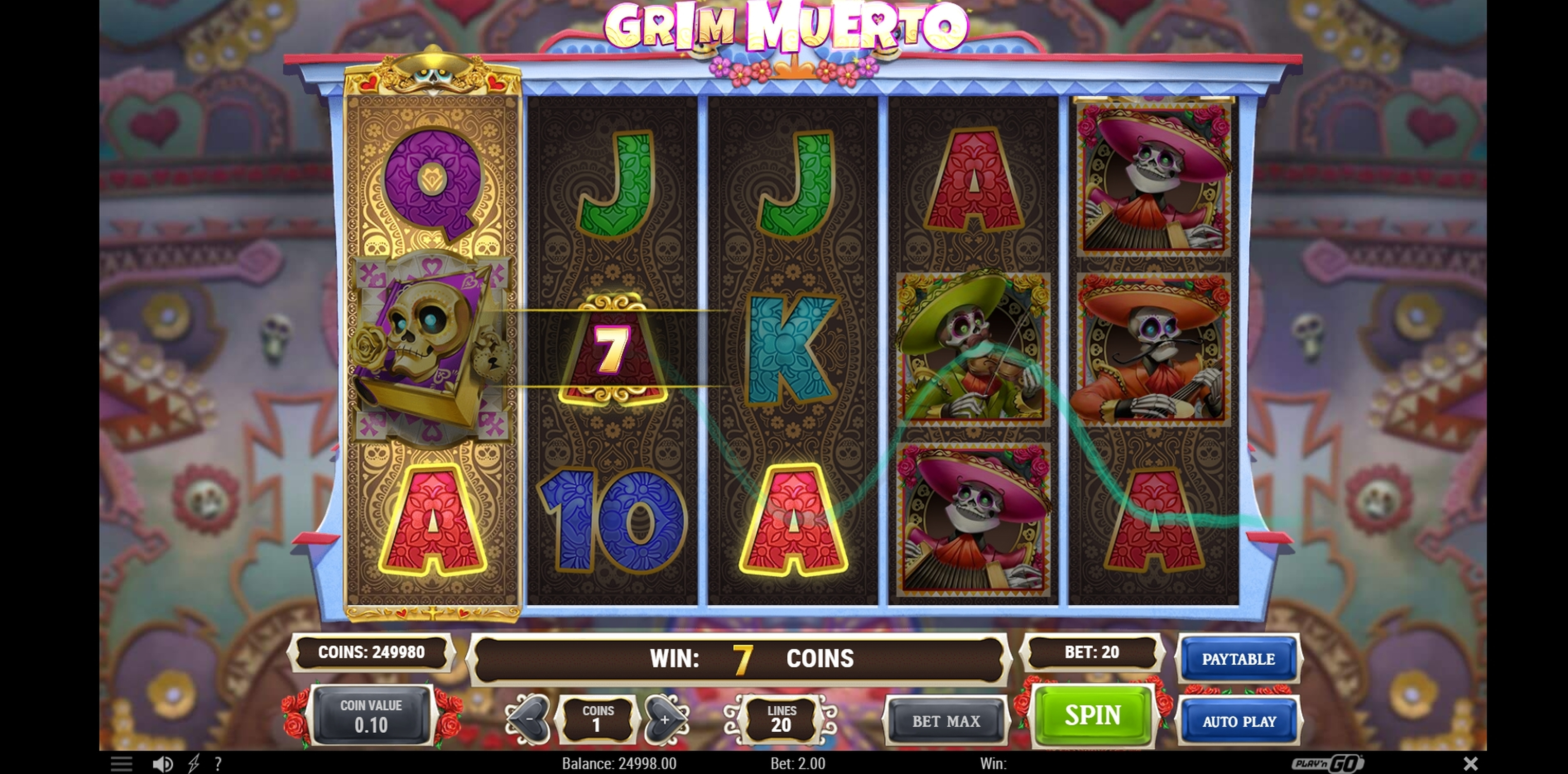 Win Money in Grim Muerto Free Slot Game by Playn GO