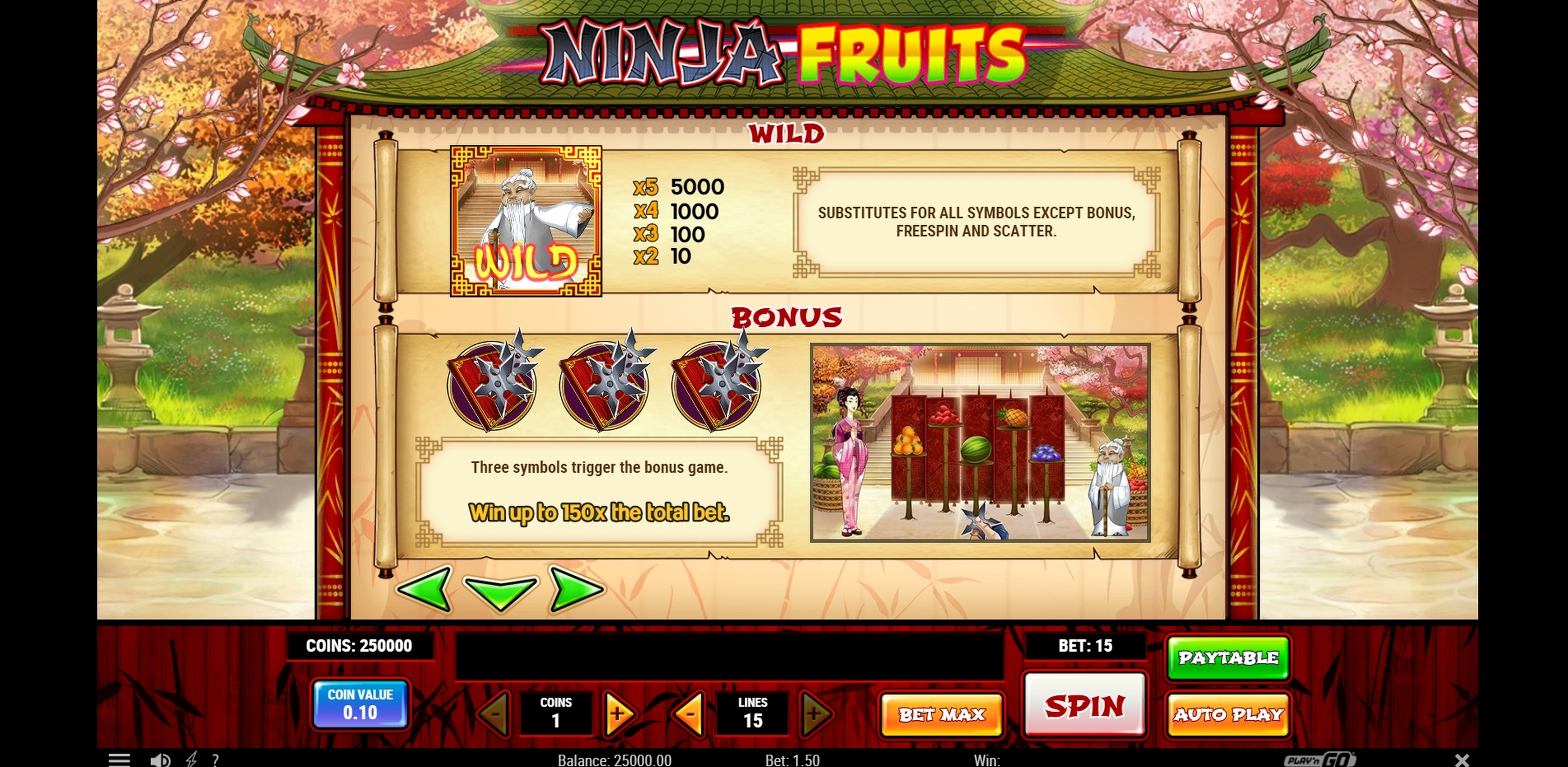 Info of Ninja Fruits Slot Game by Playn GO