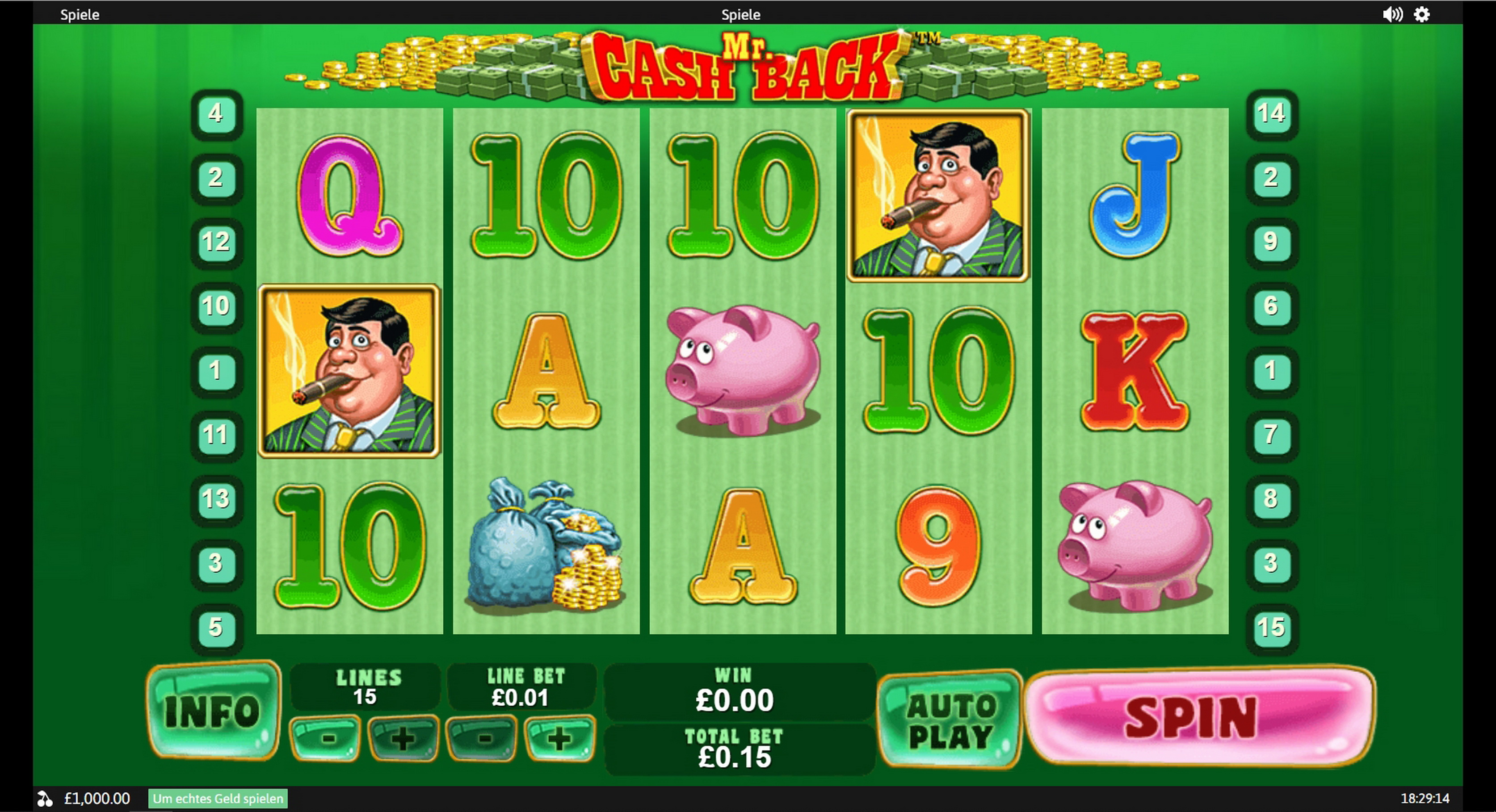 Reels in MR. Cashback Slot Game by Playtech
