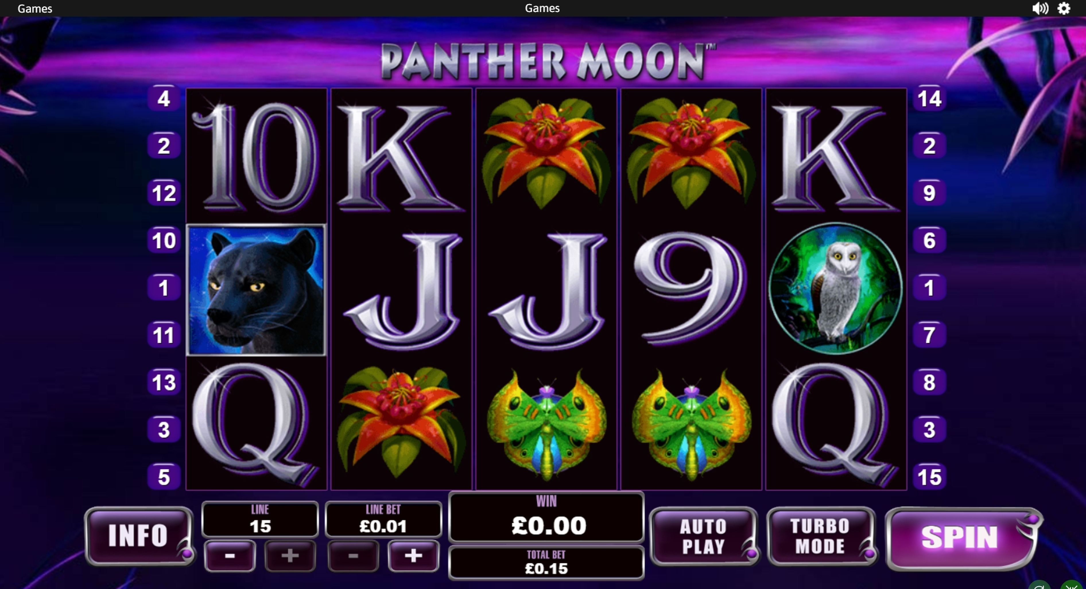 Reels in Panther Moon Slot Game by Playtech