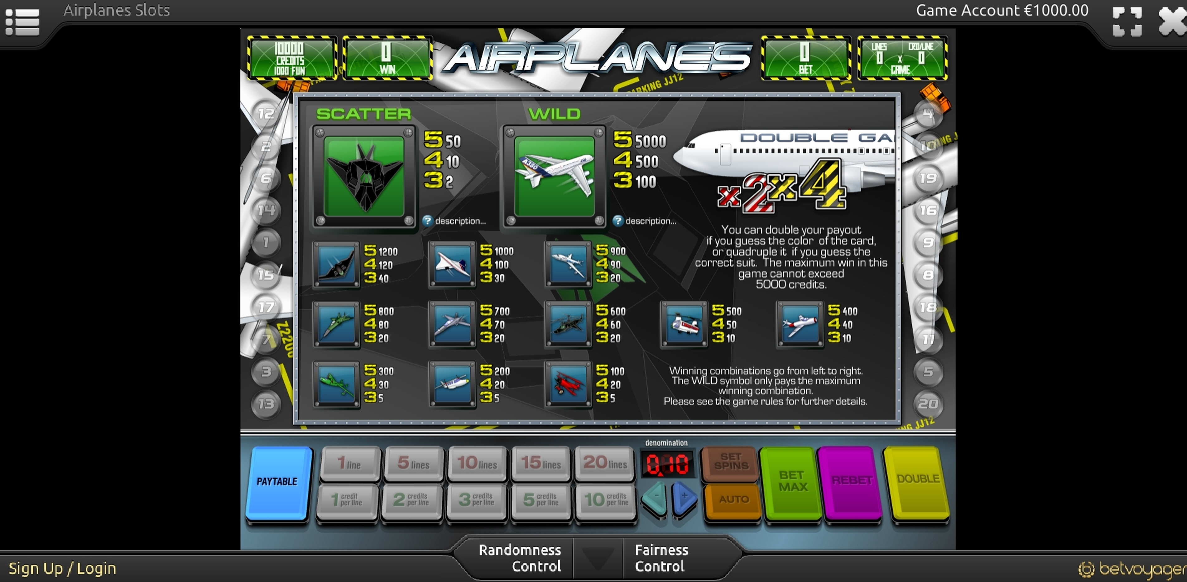 Info of Airplanes Slot Game by Portomaso Gaming