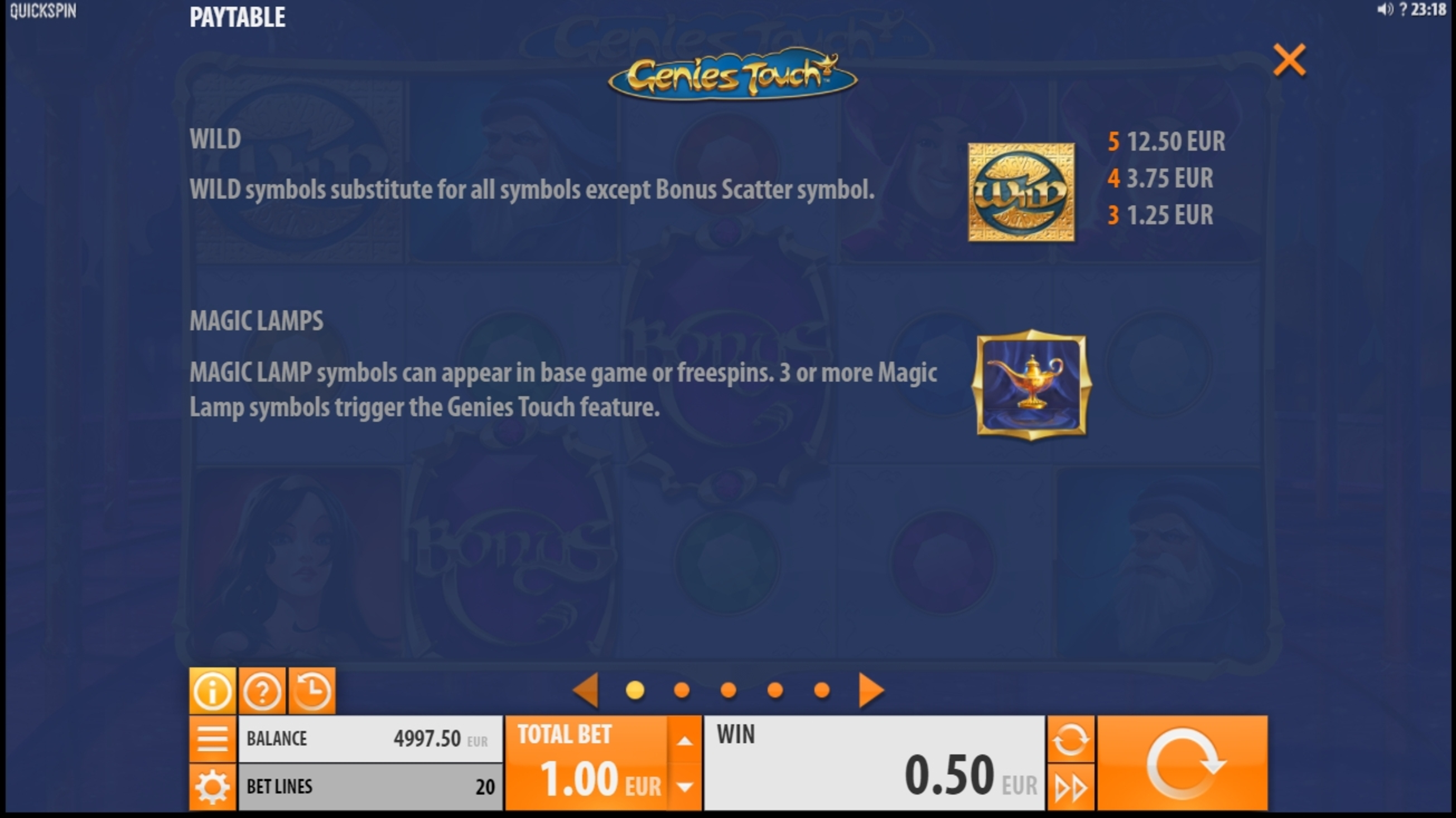 Info of Genies Touch Slot Game by Quickspin