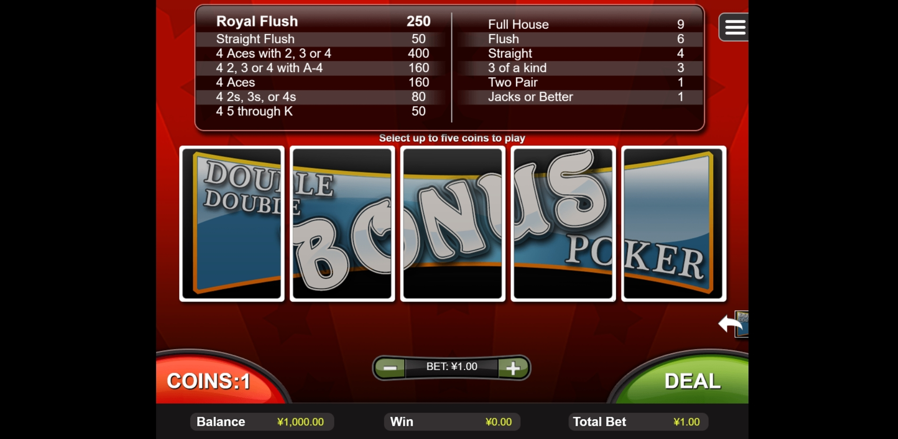 Reels in Double Double Bonus Poker (RTG) Slot Game by Real Time Gaming