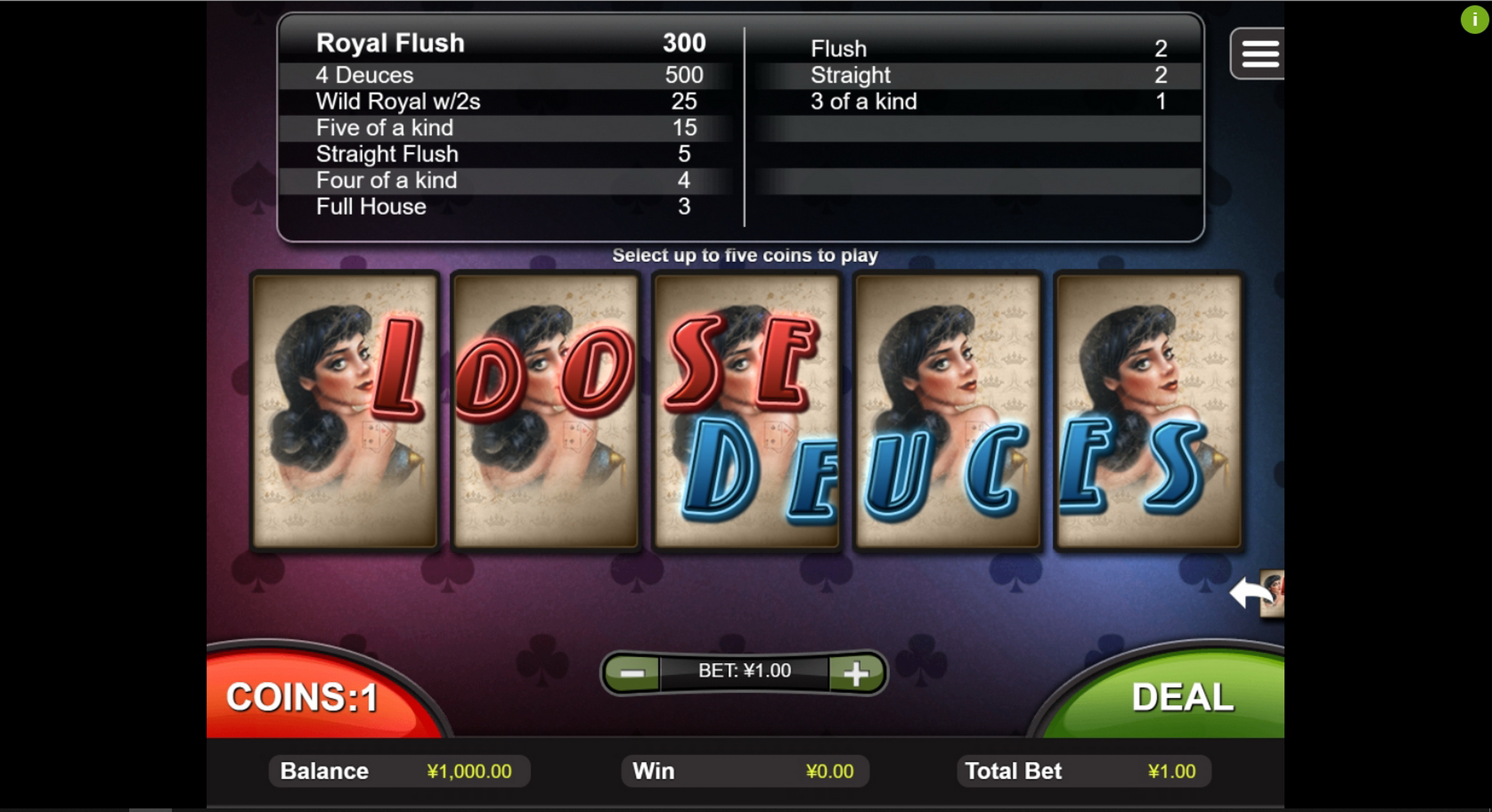Reels in Loose Deuces Slot Game by Real Time Gaming