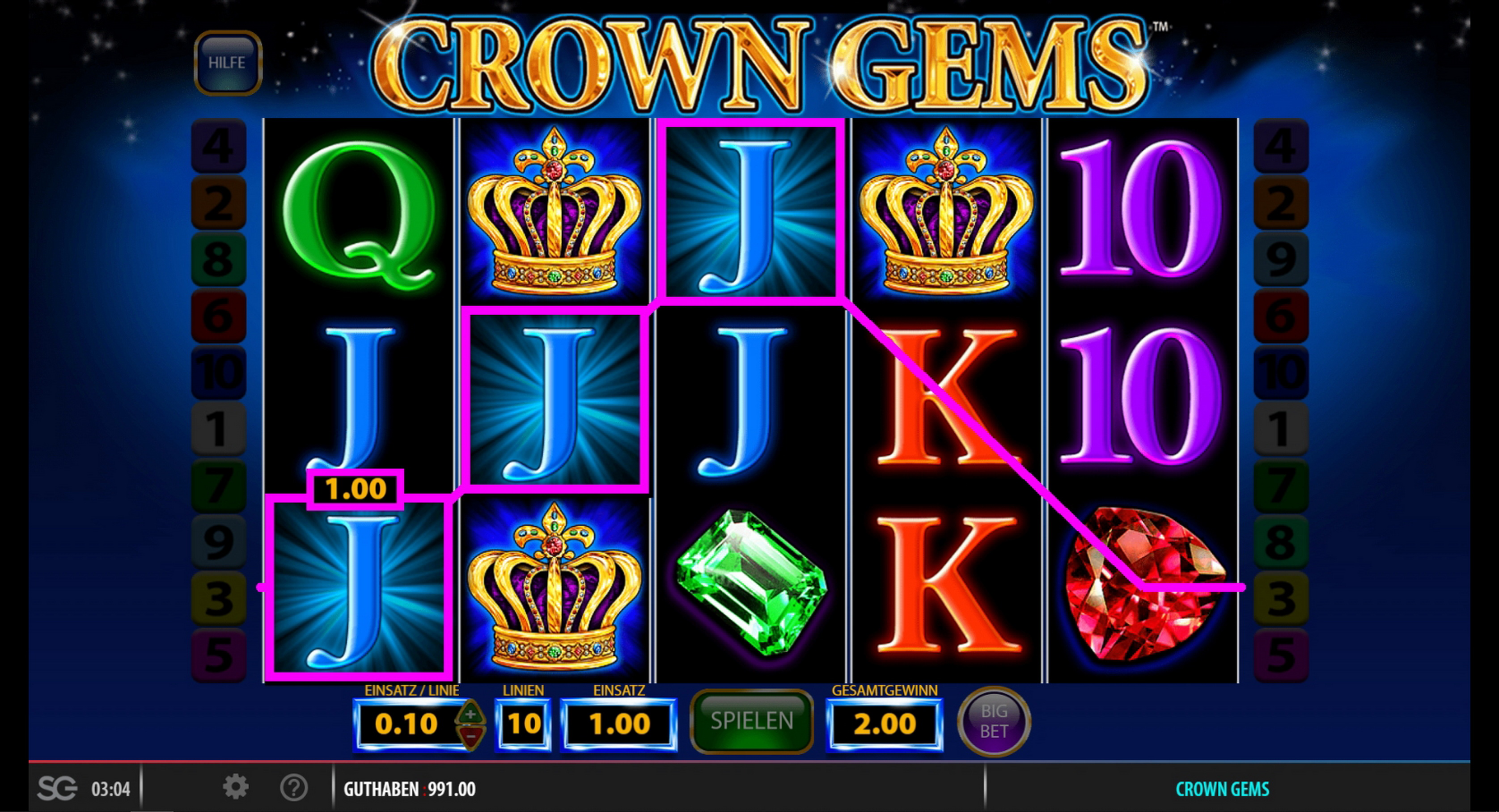 Win Money in Crown Gems Free Slot Game by Reel Time Gaming