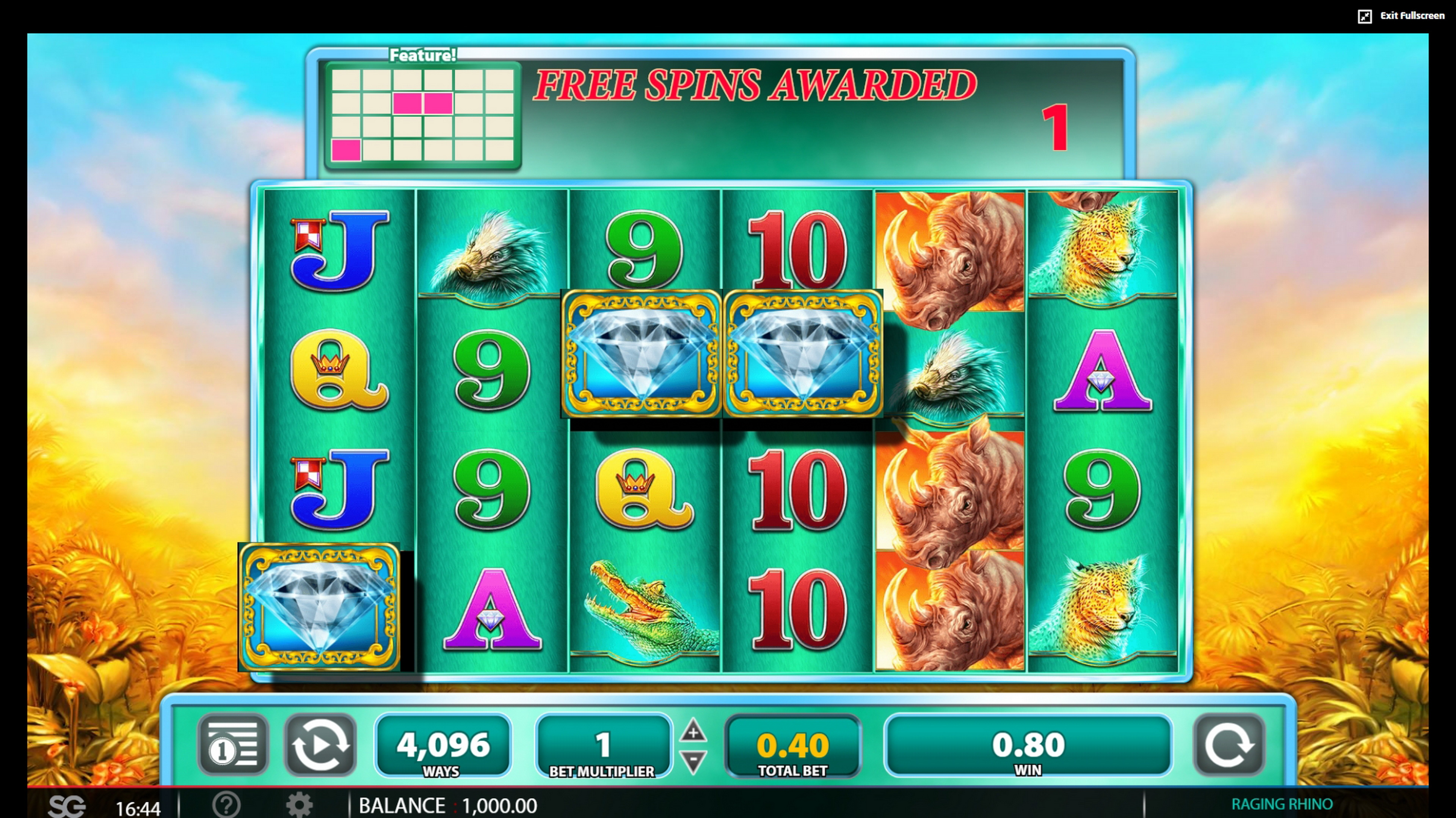 Win Money in Raging Rhino Free Slot Game by WMS