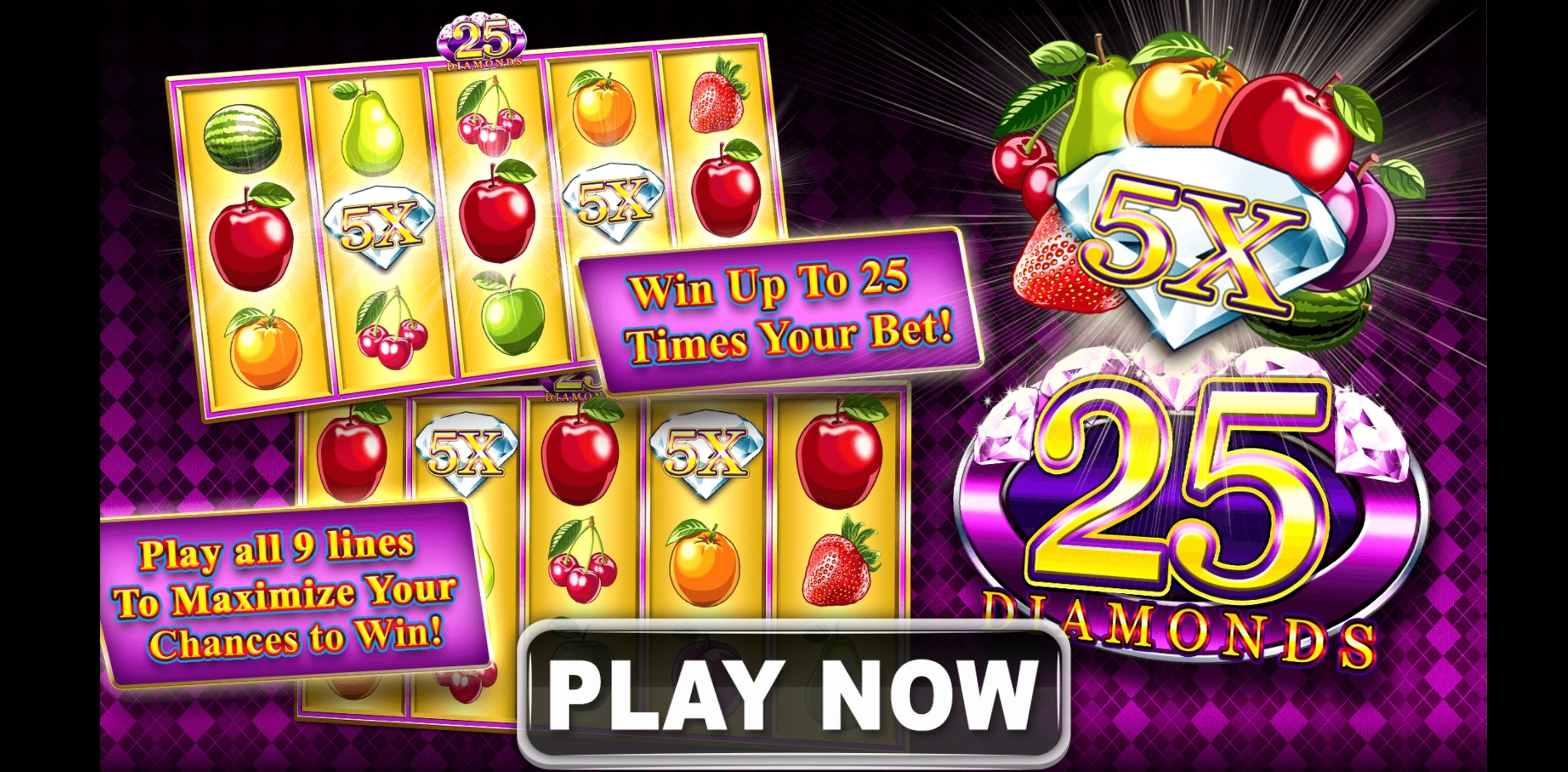 Play 25 Diamonds Free Casino Slot Game by Spin Games