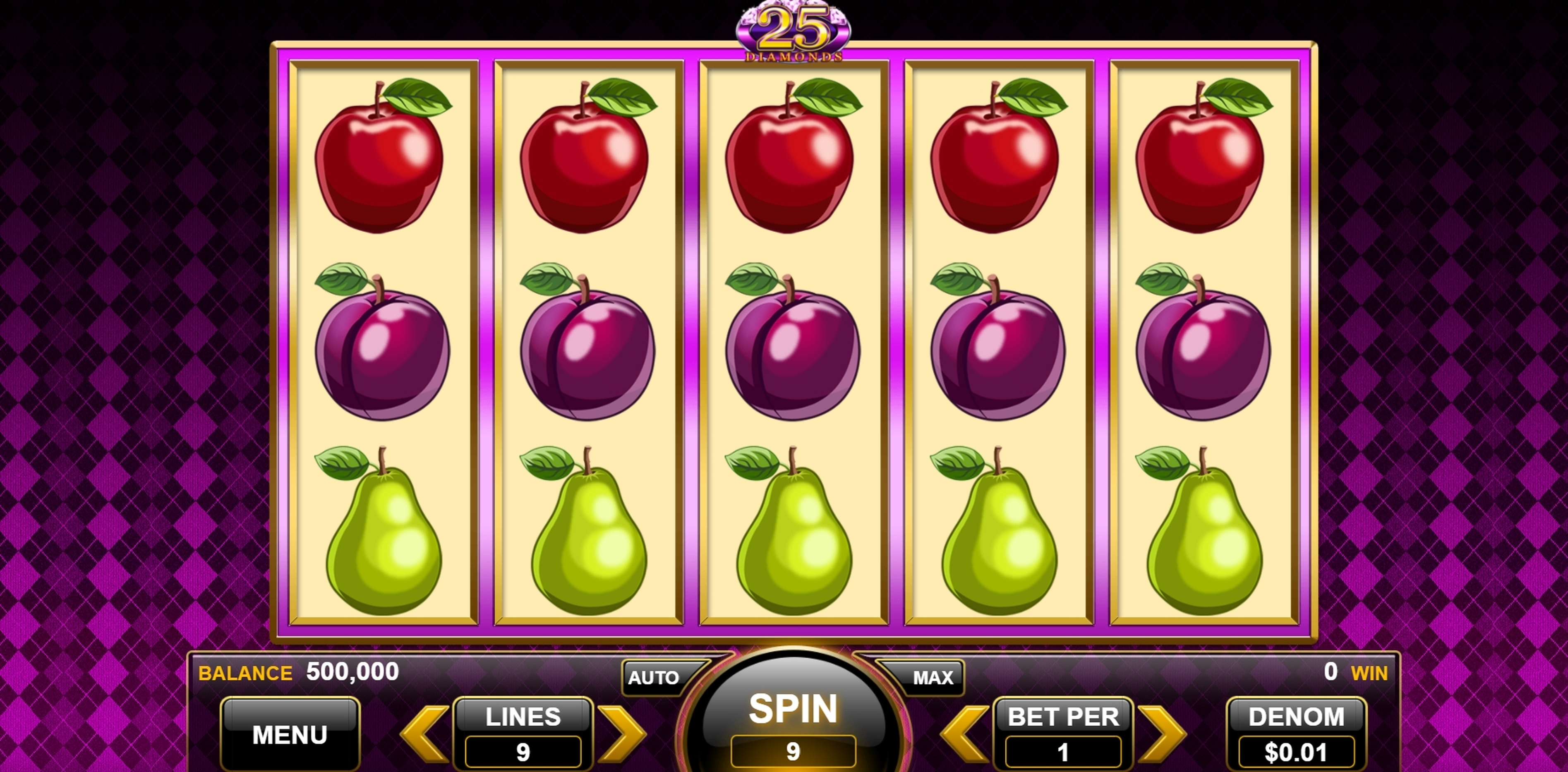 Reels in 25 Diamonds Slot Game by Spin Games