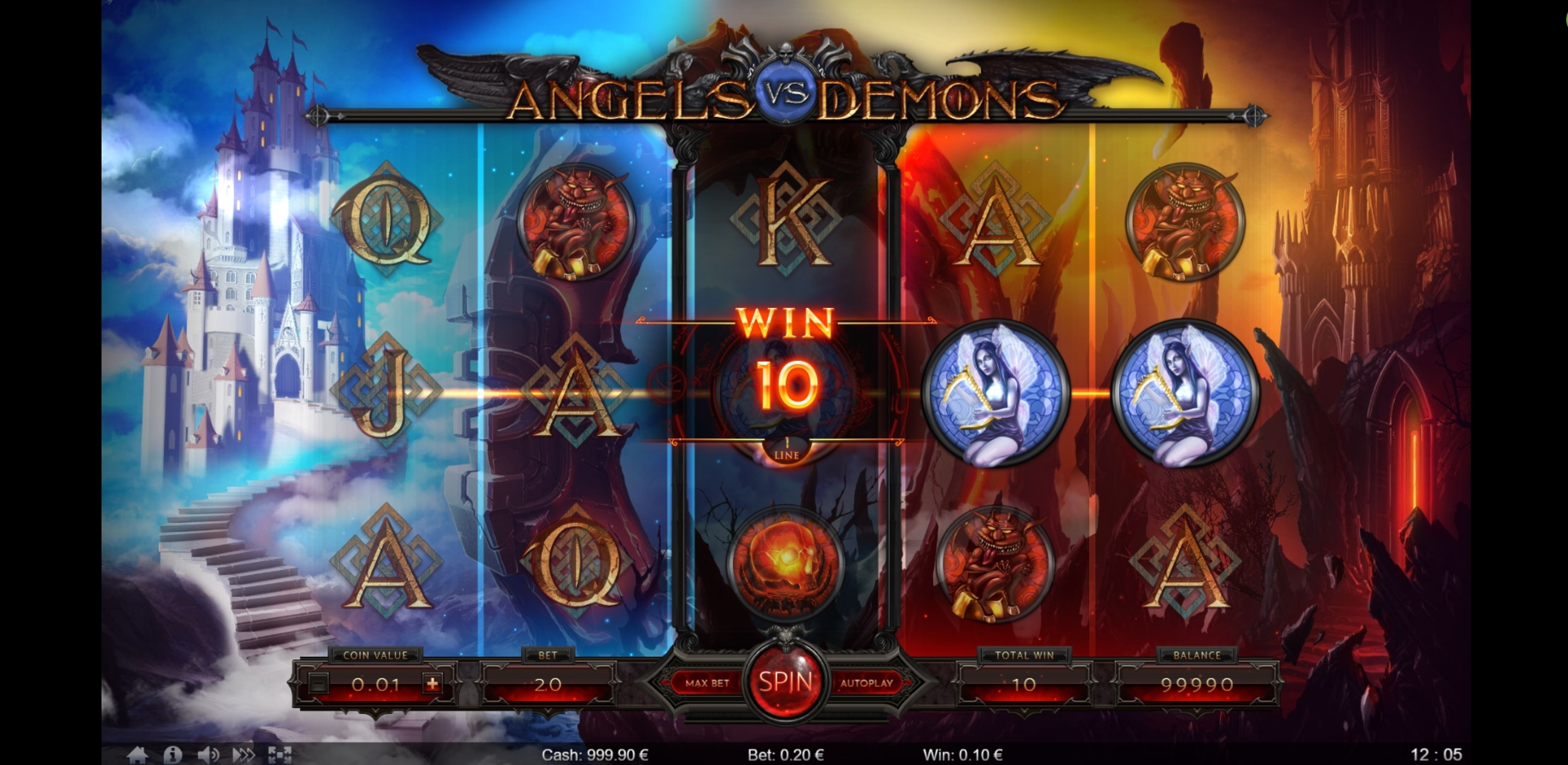Win Money in Angels vs Demons Free Slot Game by Thunderspin