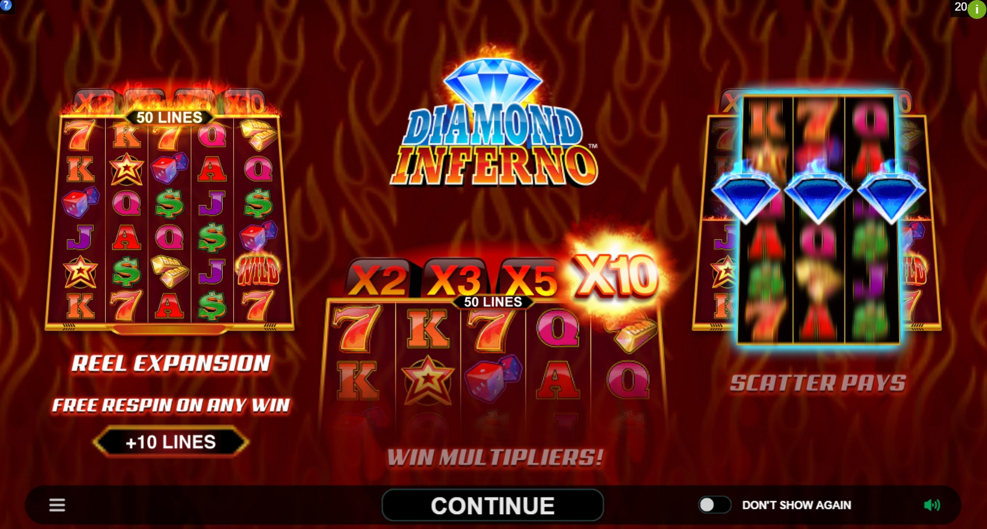 Play Diamond Inferno Free Casino Slot Game by Triple Edge Studios