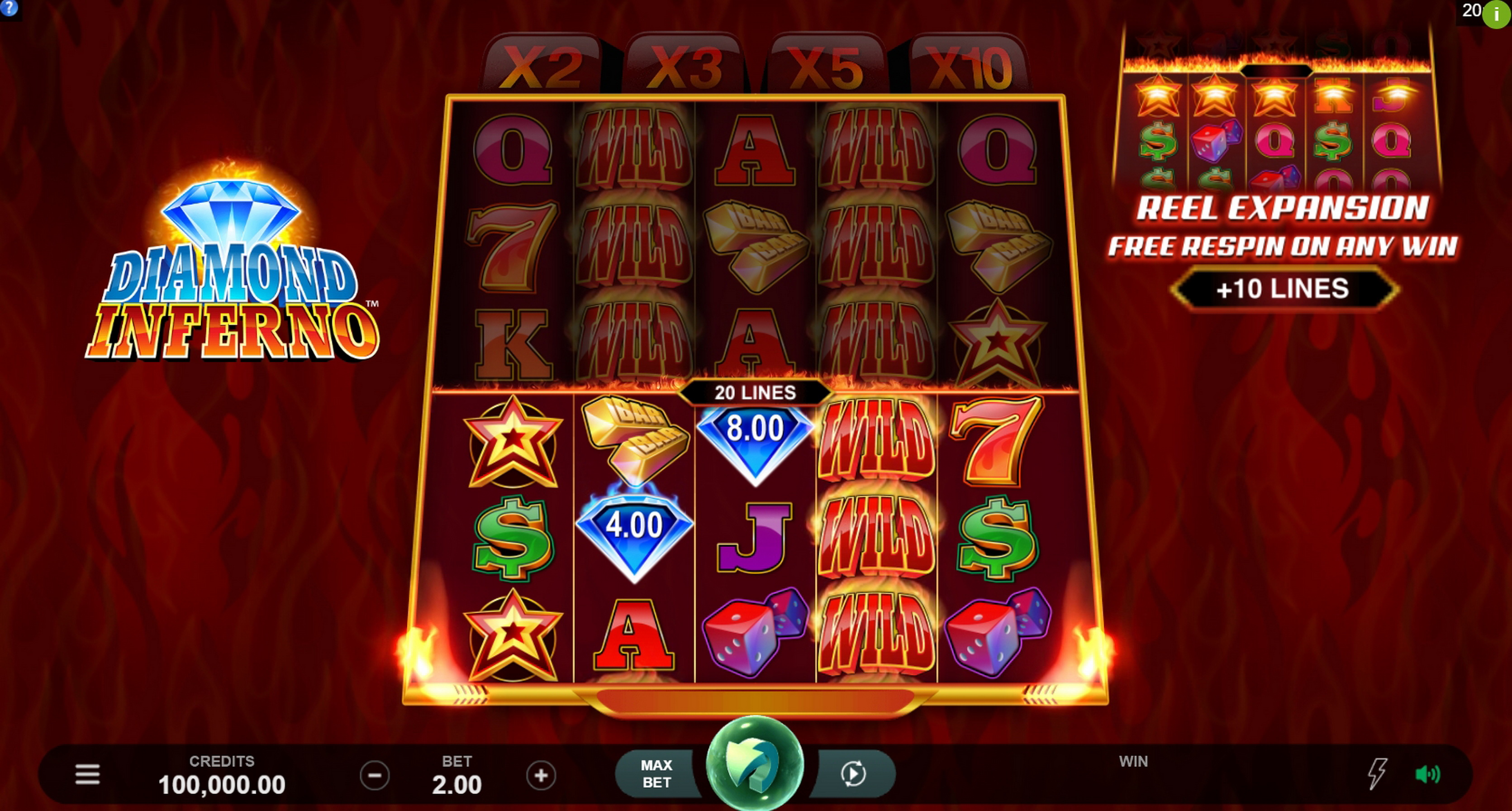 Reels in Diamond Inferno Slot Game by Triple Edge Studios