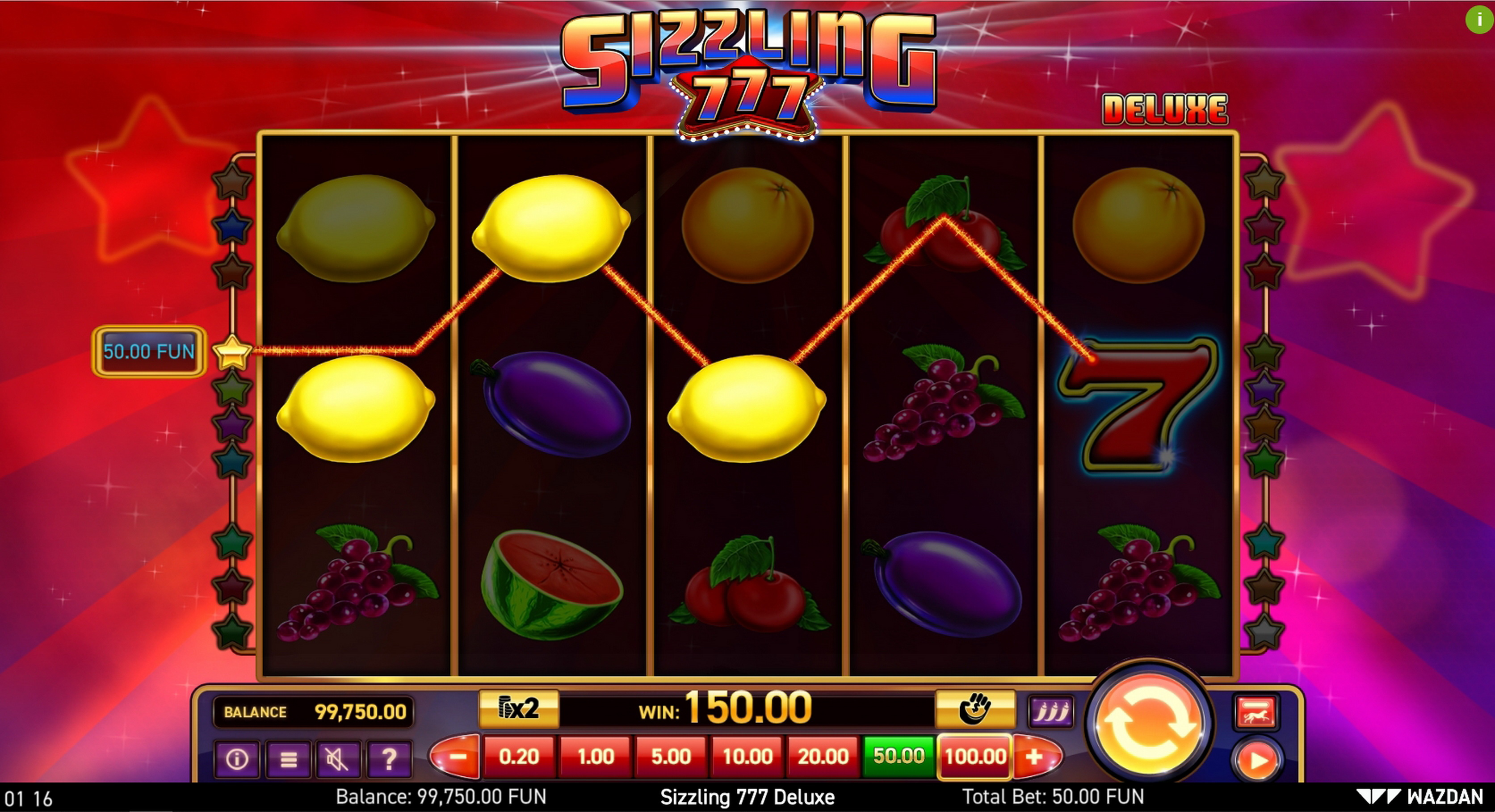 Win Money in Sizzling 777 Deluxe Free Slot Game by Wazdan