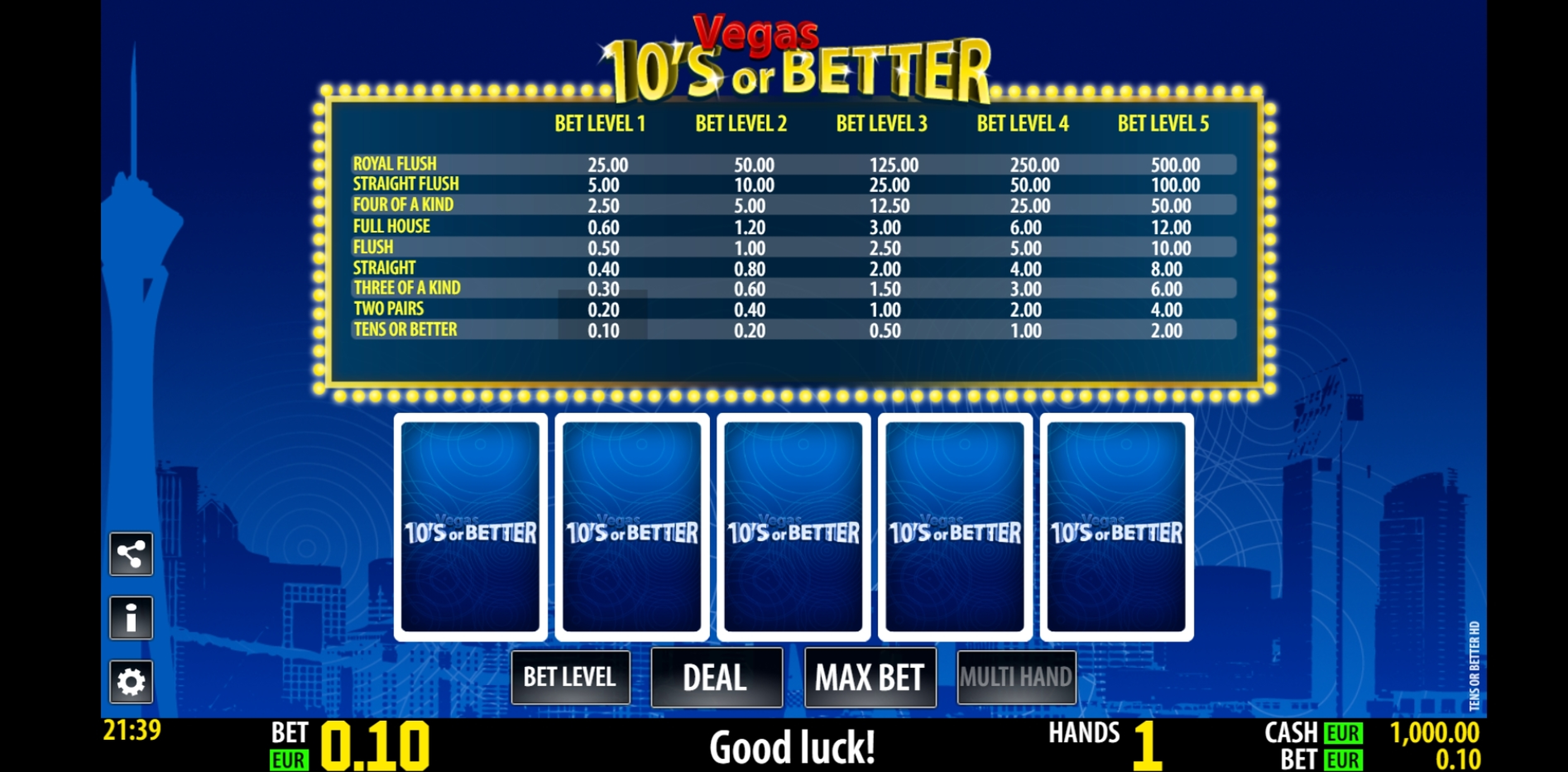 Reels in Tens Or Better HD Slot Game by World Match