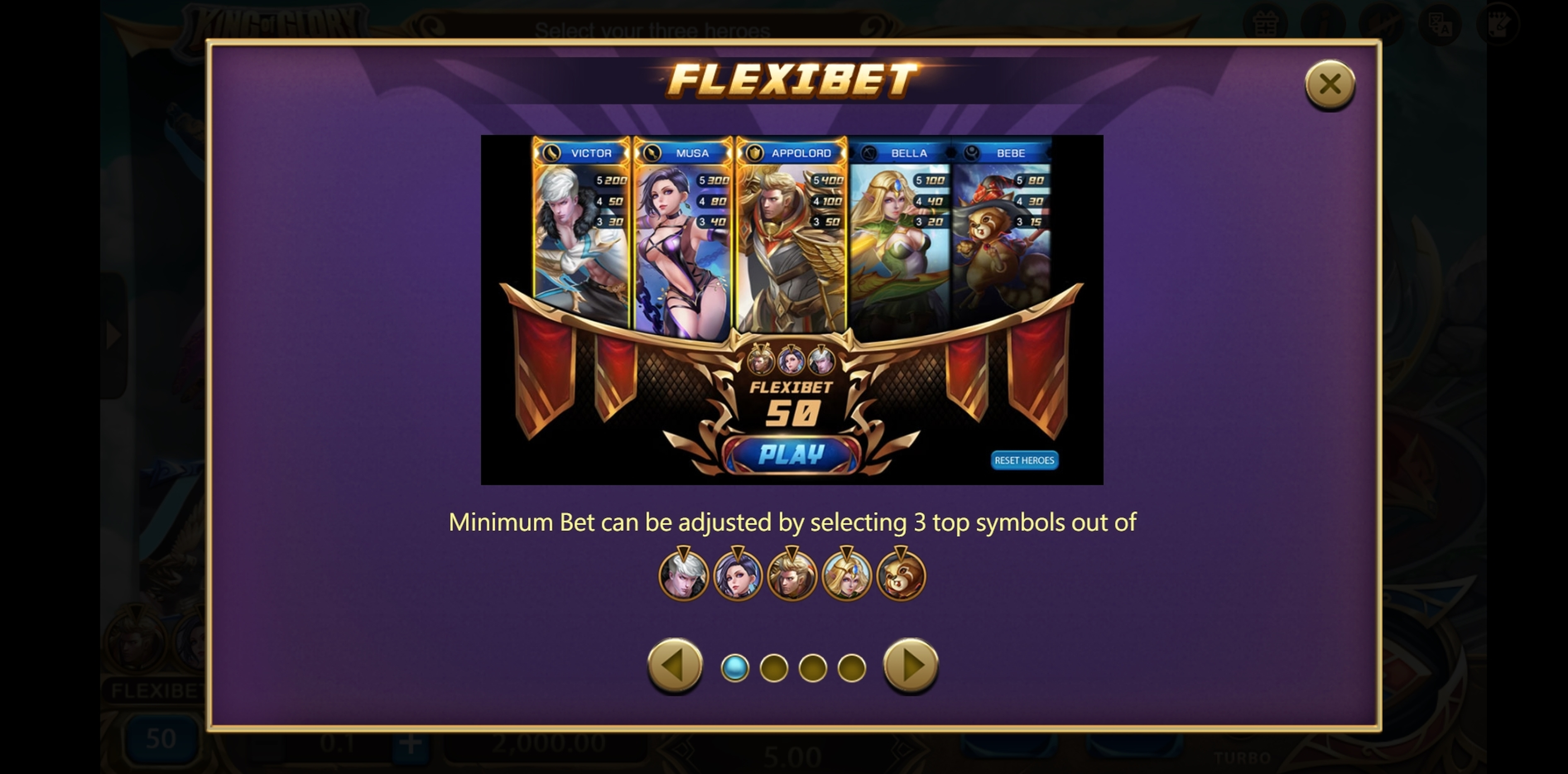 Info of King of Glory Slot Game by XIN Gaming