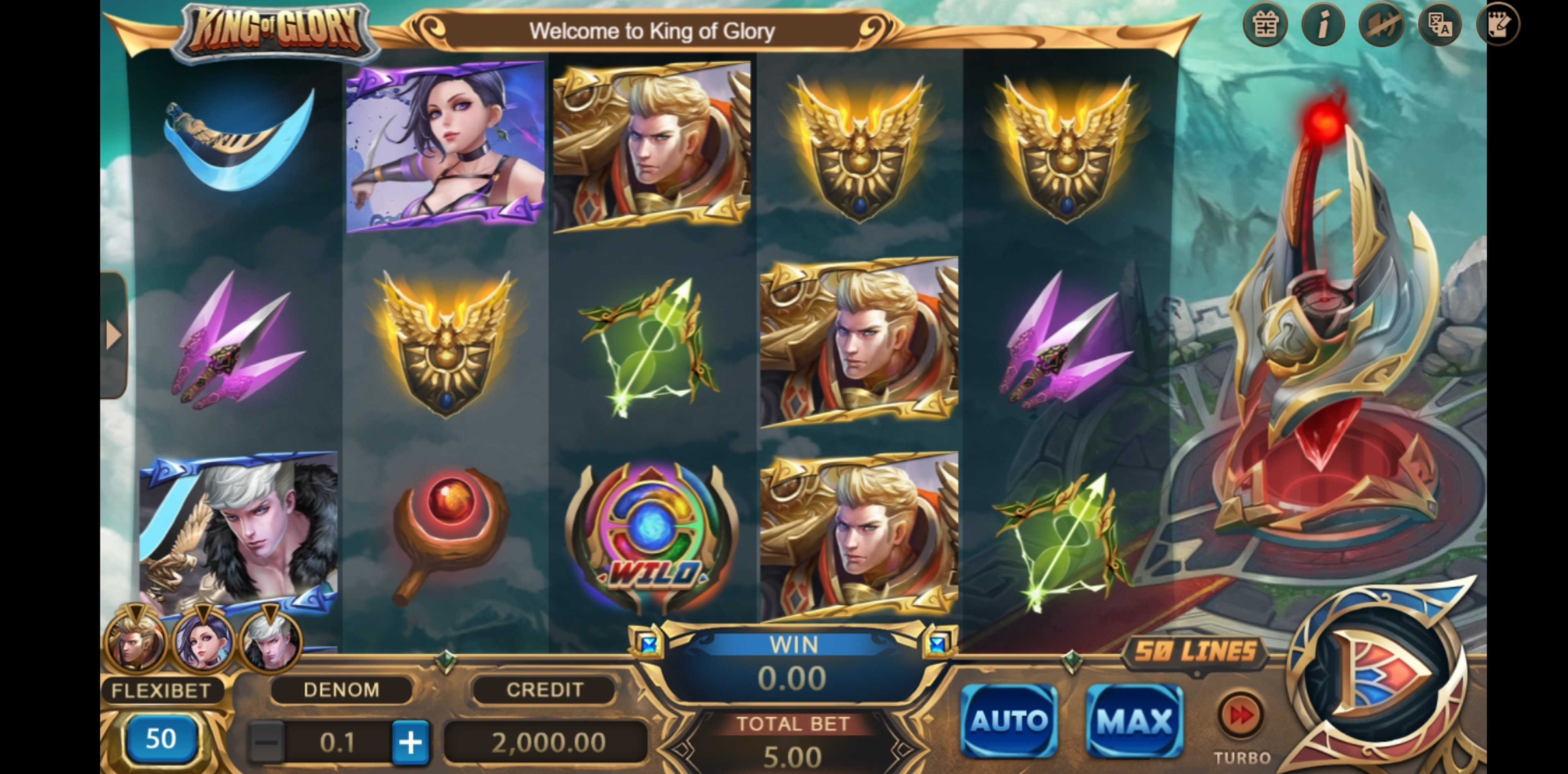 Reels in King of Glory Slot Game by XIN Gaming
